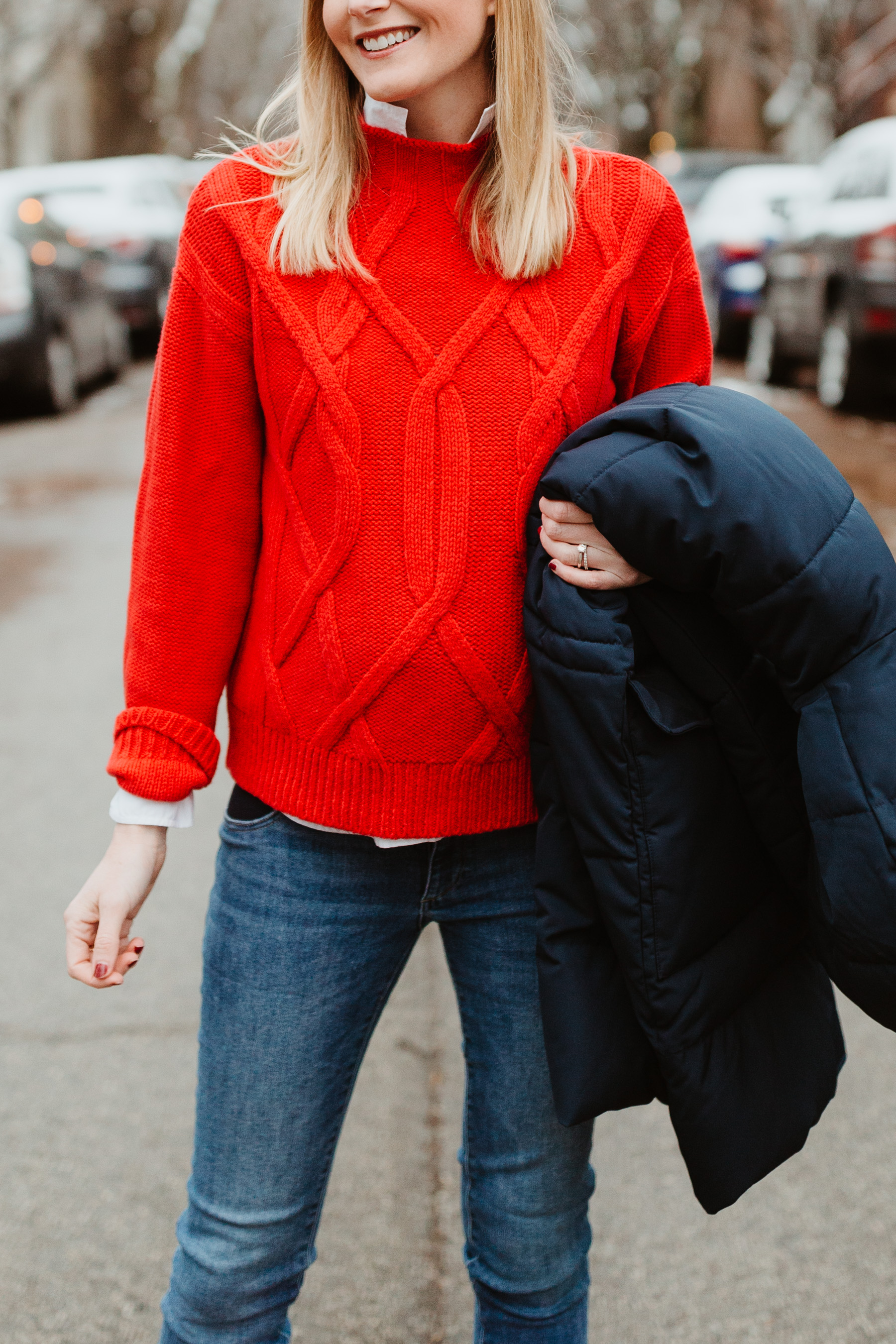 The Cable Mock Neck Sweater