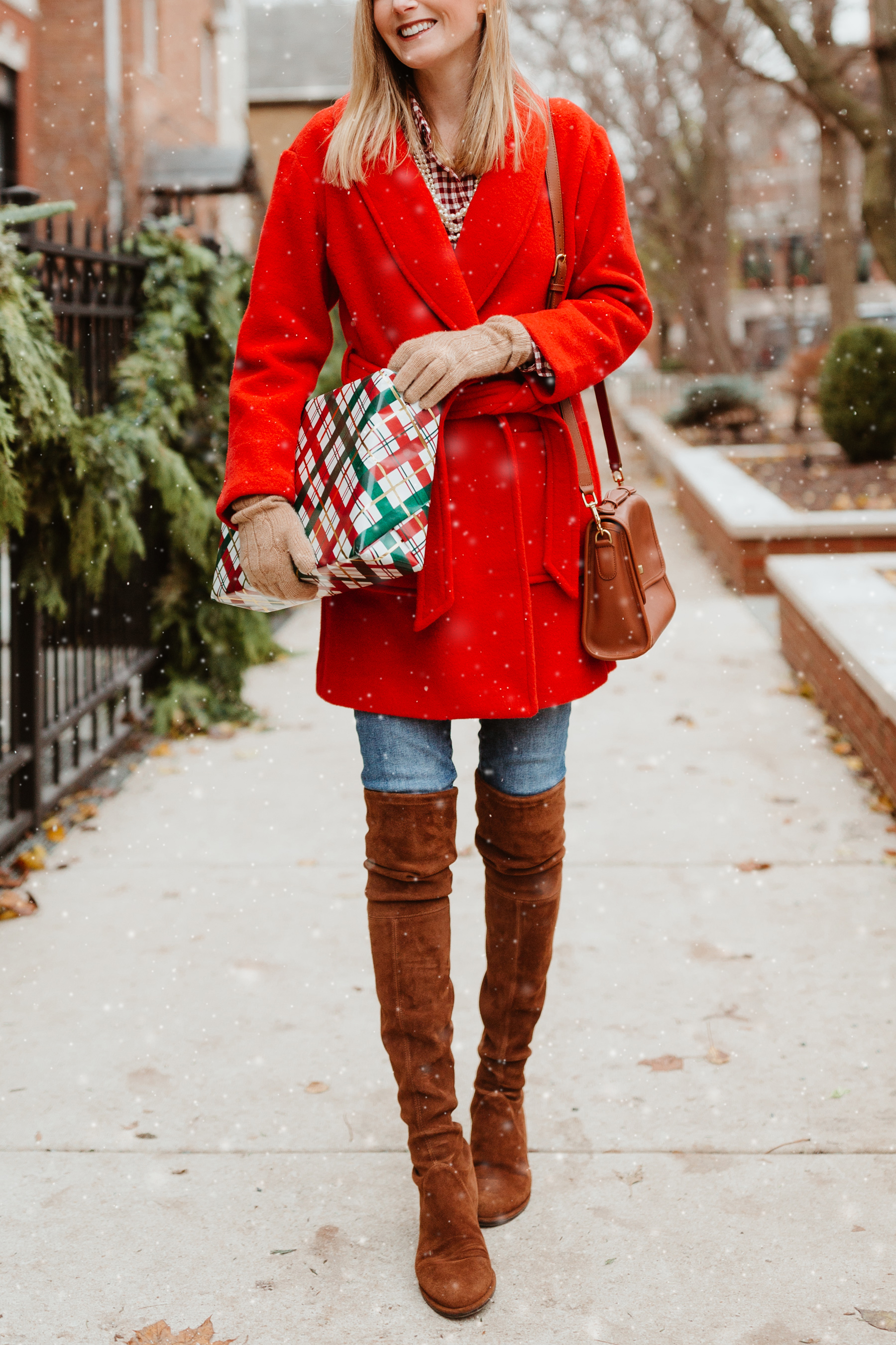 Red Wrap Coat / Kelly's Gingham Flannel Shirt