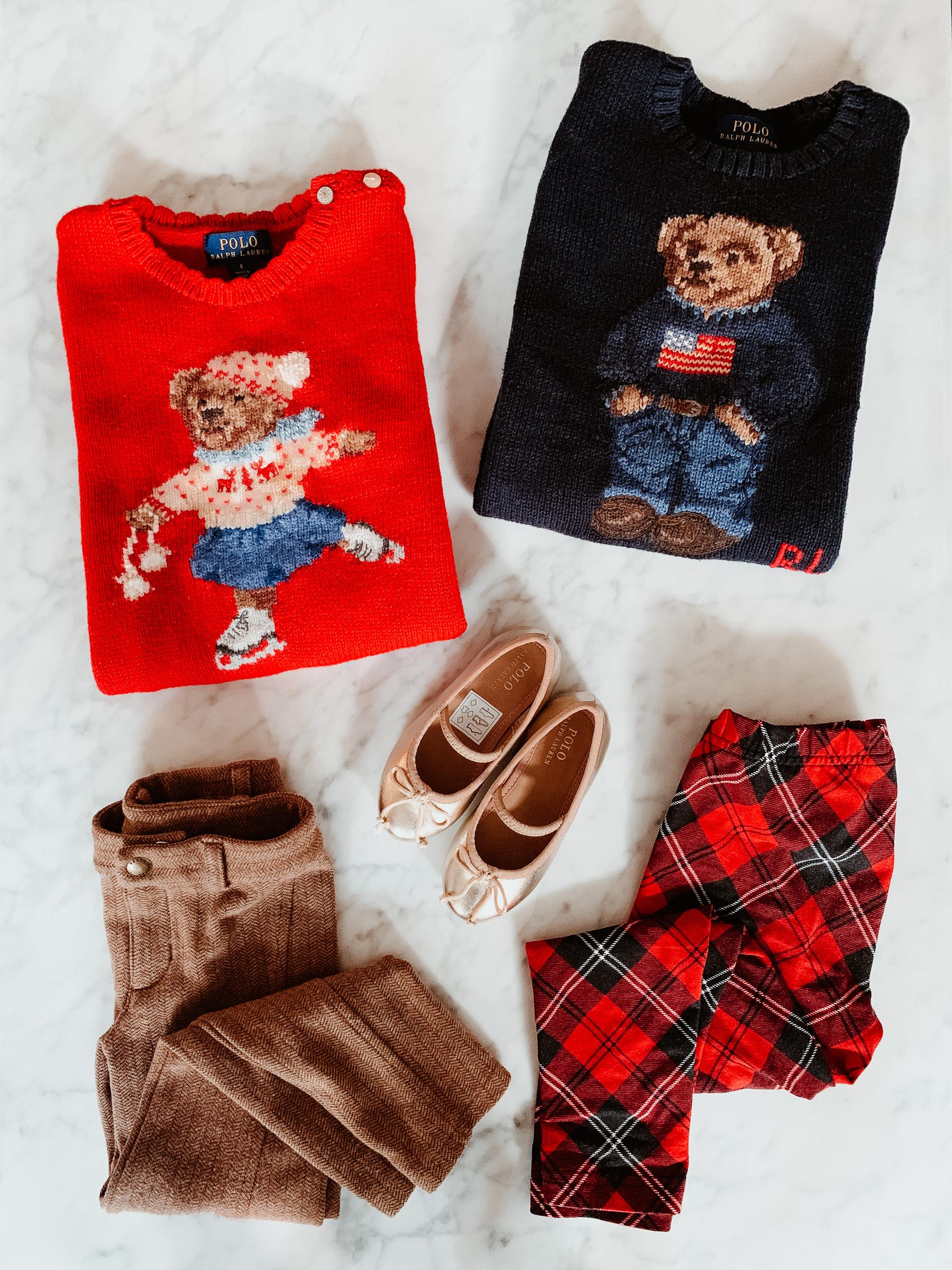 478196a2a46 Ice Skating Bear Sweater   Gold Flats   Polo Bear Sweater   Herringbone  Leggings   Tartan Leggings all c o