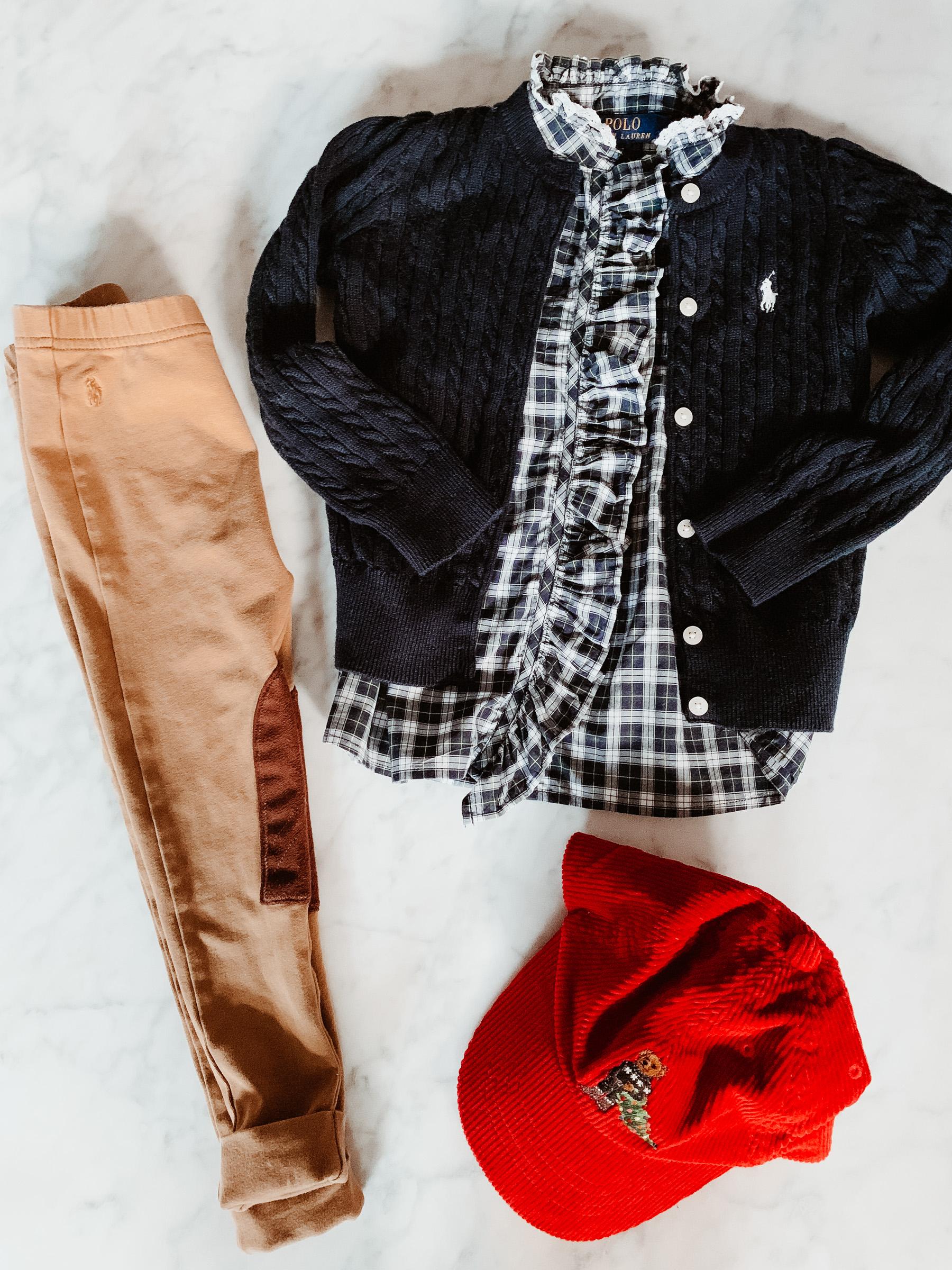 Ruffled Plaid Shirt / Navy Cardigan / Equestrian Leggings / Hatall c/o
