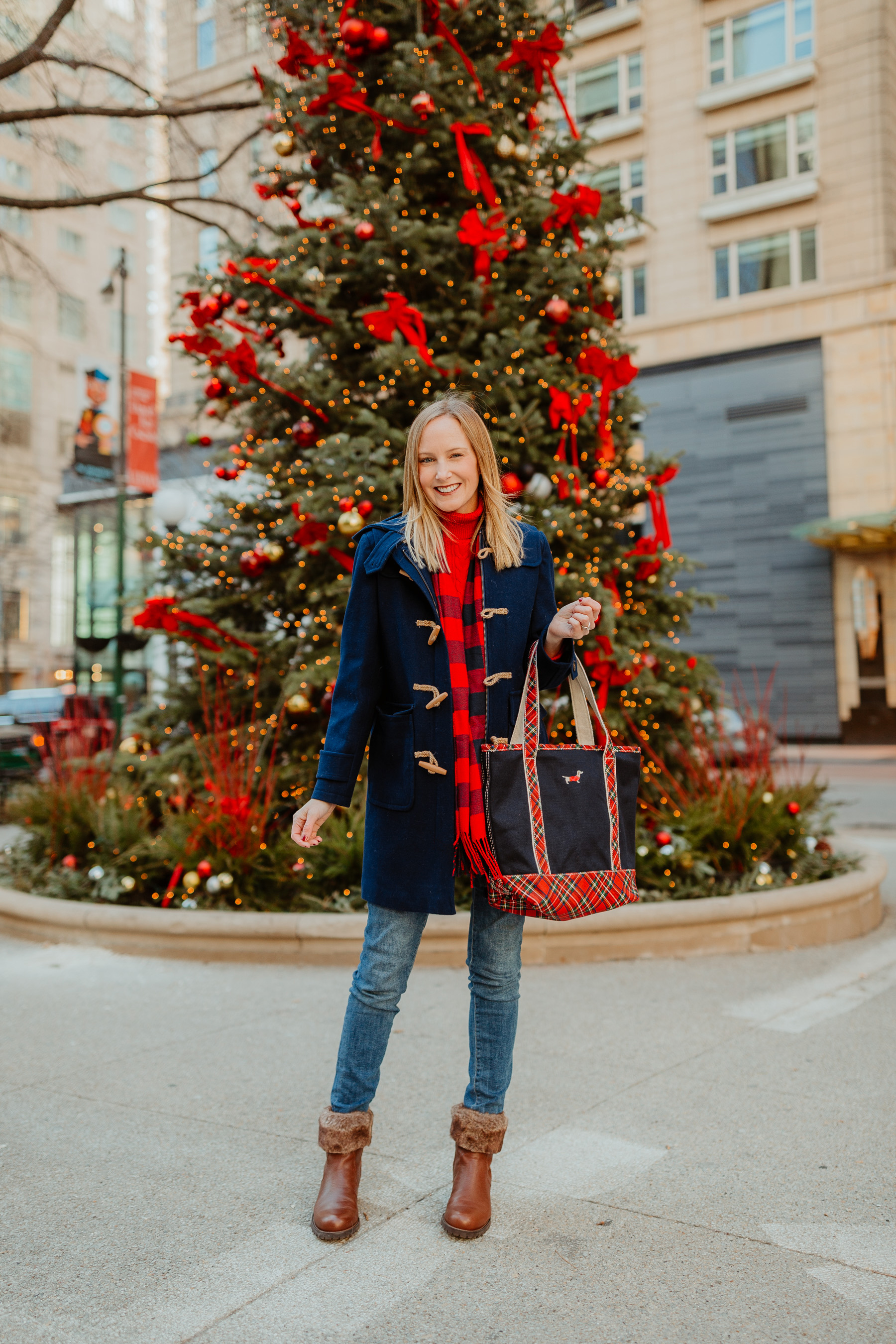 Navy Duffle Coat(On sale!)/ Cable-Knit Turtleneck Sweater / Fur Booties / Buffalo Plaid Scarf /Lands' End Plaid Dachshund Tote c/o /Skinny Jeans(I'm wearingthe maternity version, though.) - Kelly in the City