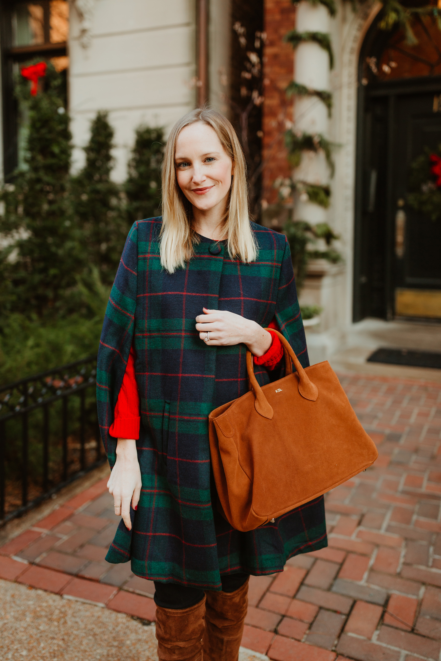 Kelly Larkin is featuring Mark & Graham Plaid Cape + Elisabetta Suede Bag