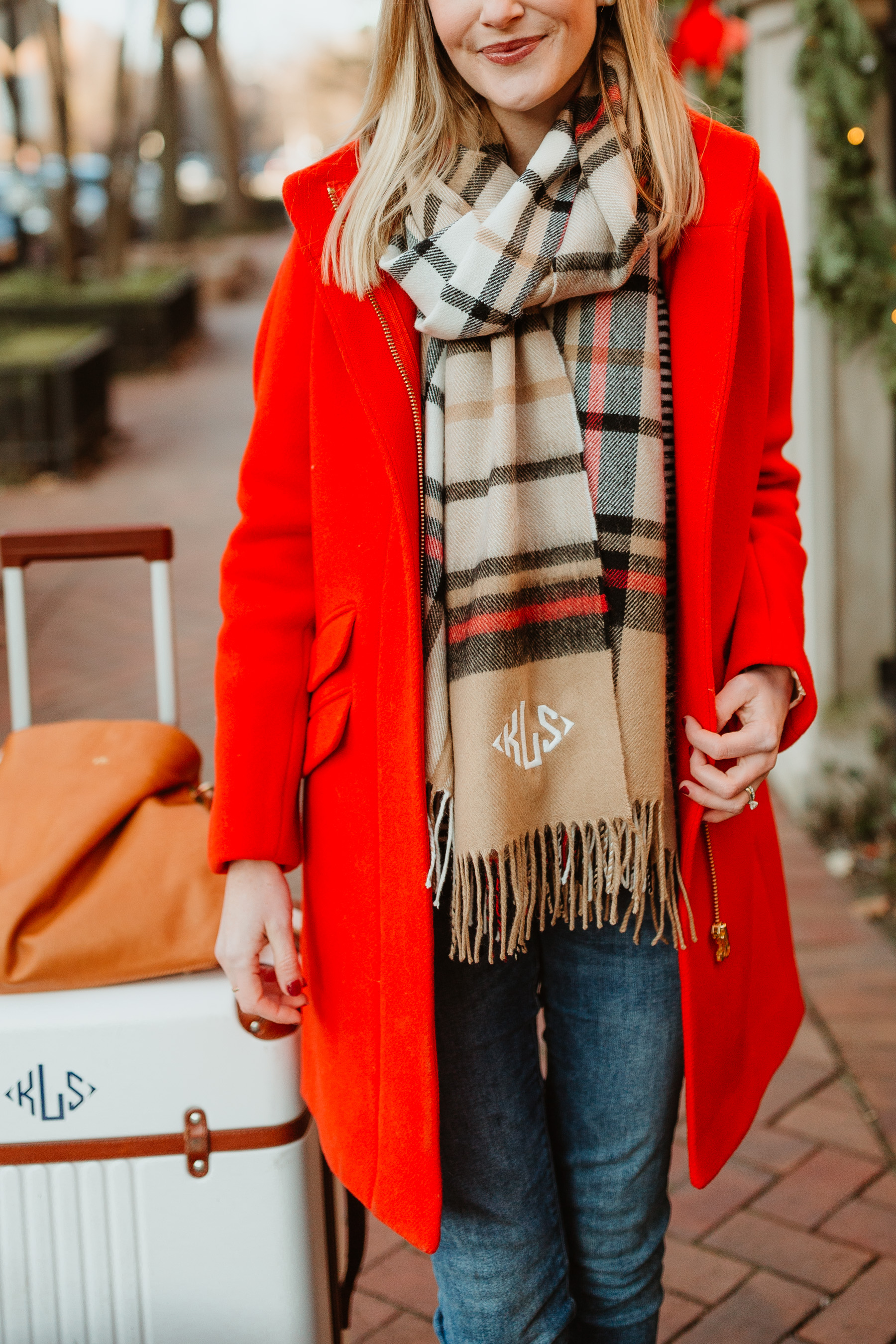 Plaid scarf + Red coat