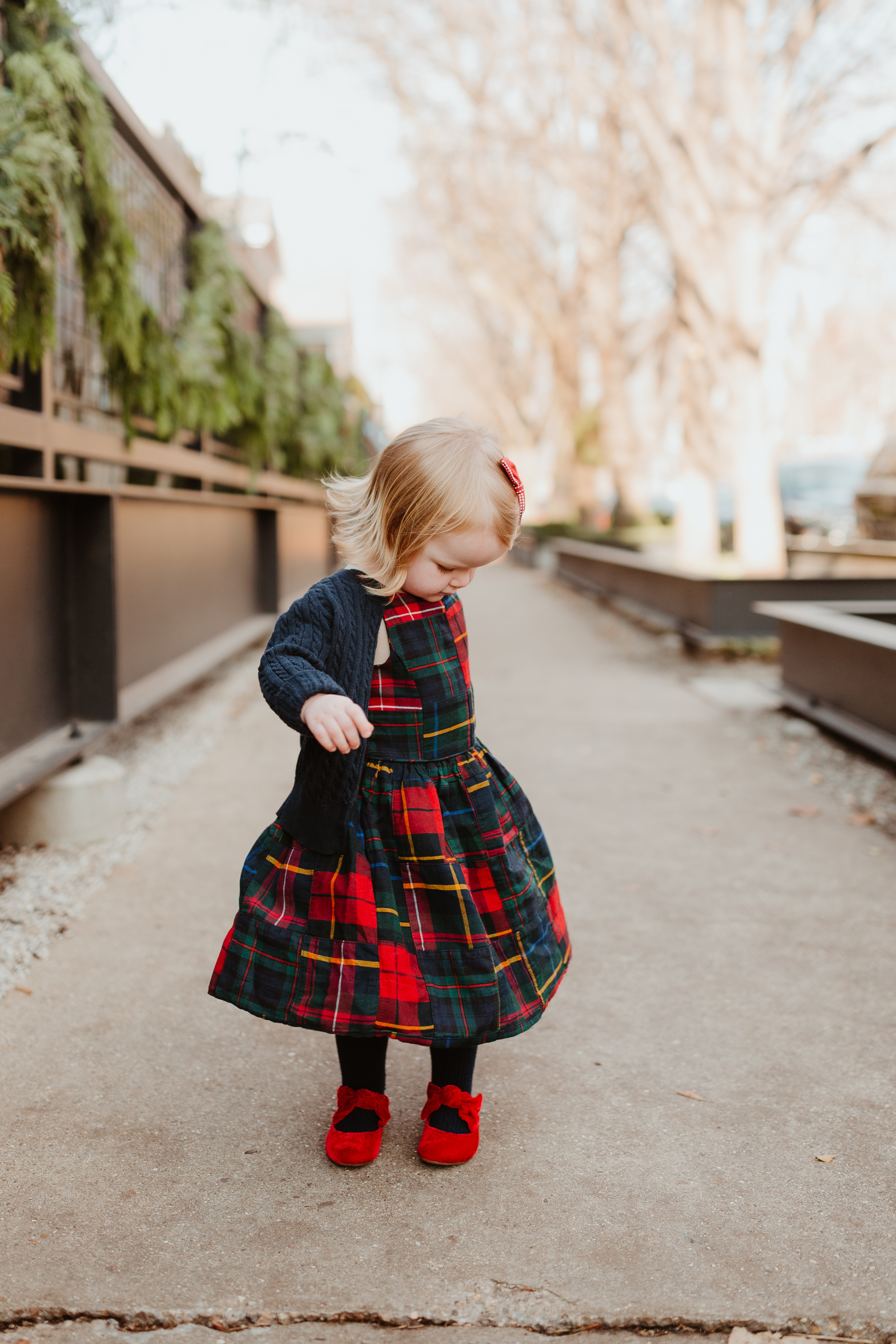 Emma is wearing a Plaid Dress (This is just the cutest, too!More holiday looks here.) / red shoes / navy cardigan - Polo Ralph Lauren