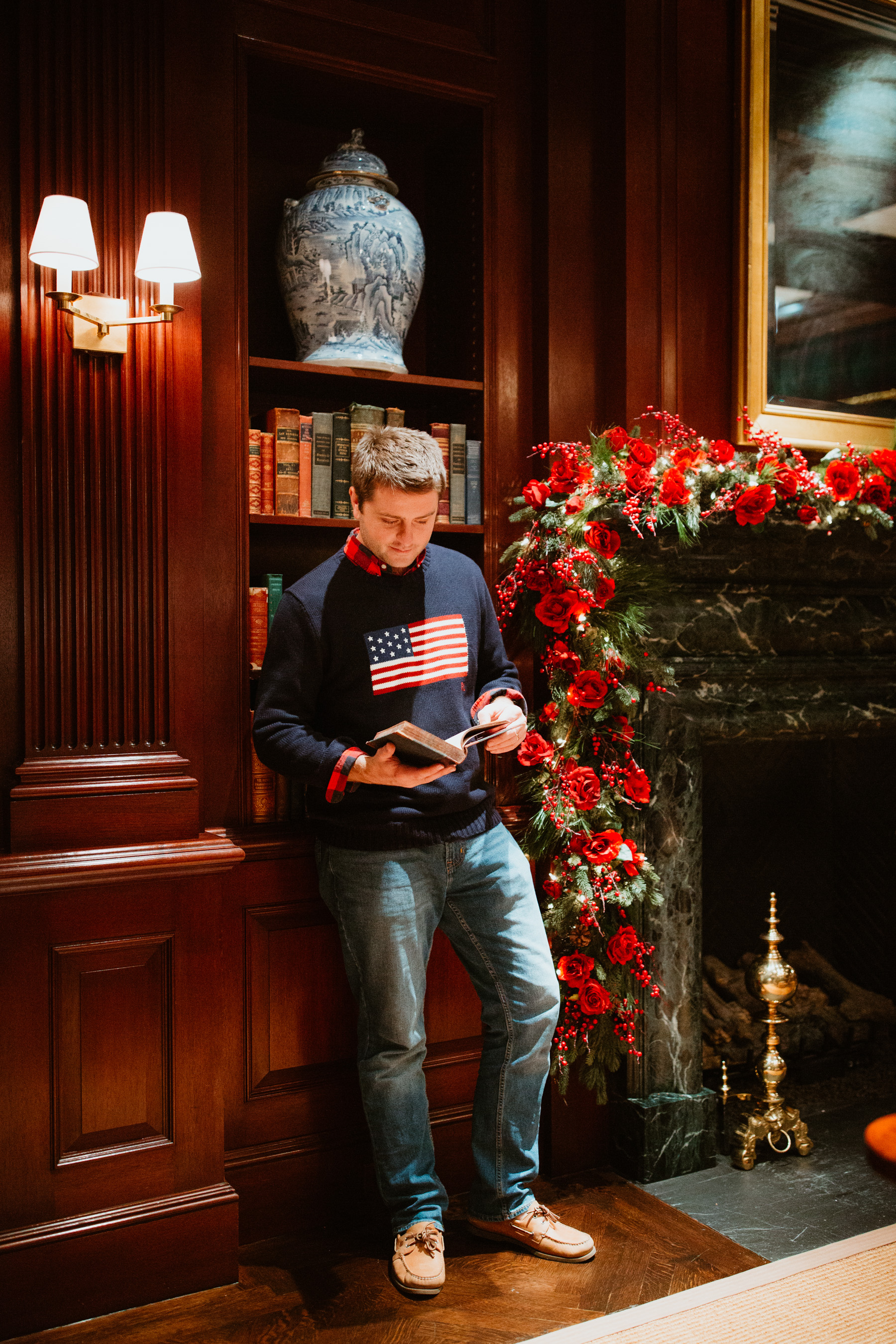 Mitch's Outfit: Ralph Lauren American Flag Sweater and Duffle Coat c/o