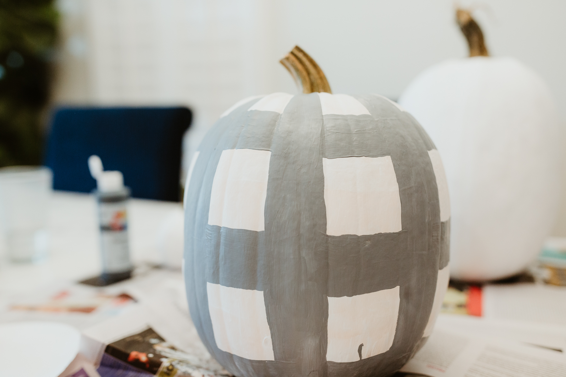 Buffalo plaid pumpkin tutorial