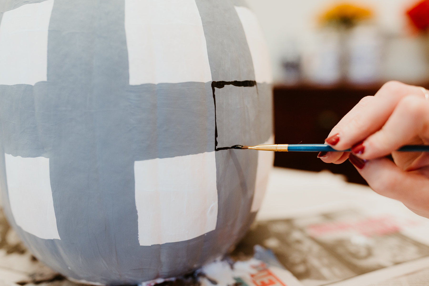 Buffalo plaid pumpkin DIY