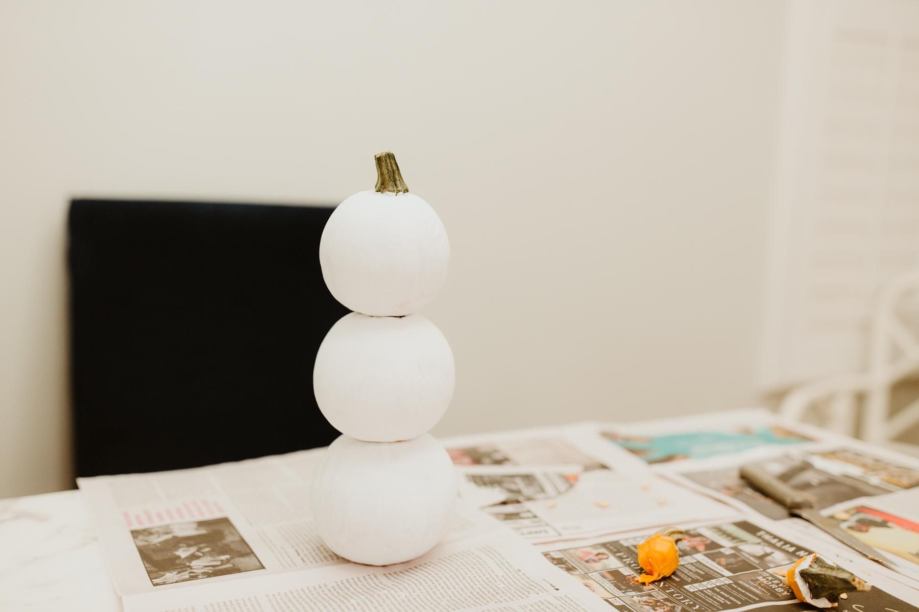 DIY Snowman pumpkin