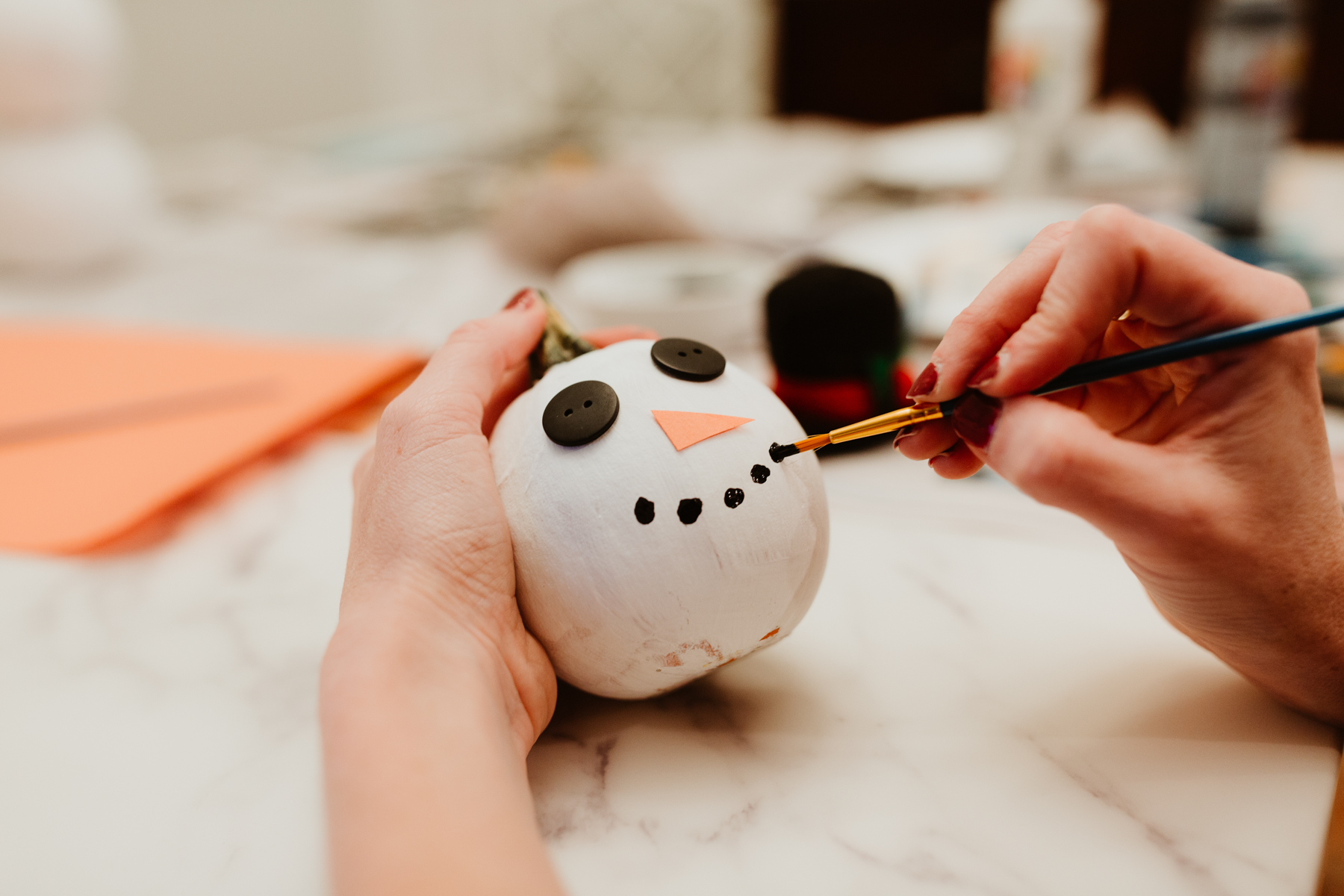 Snowman pumpkin DIY
