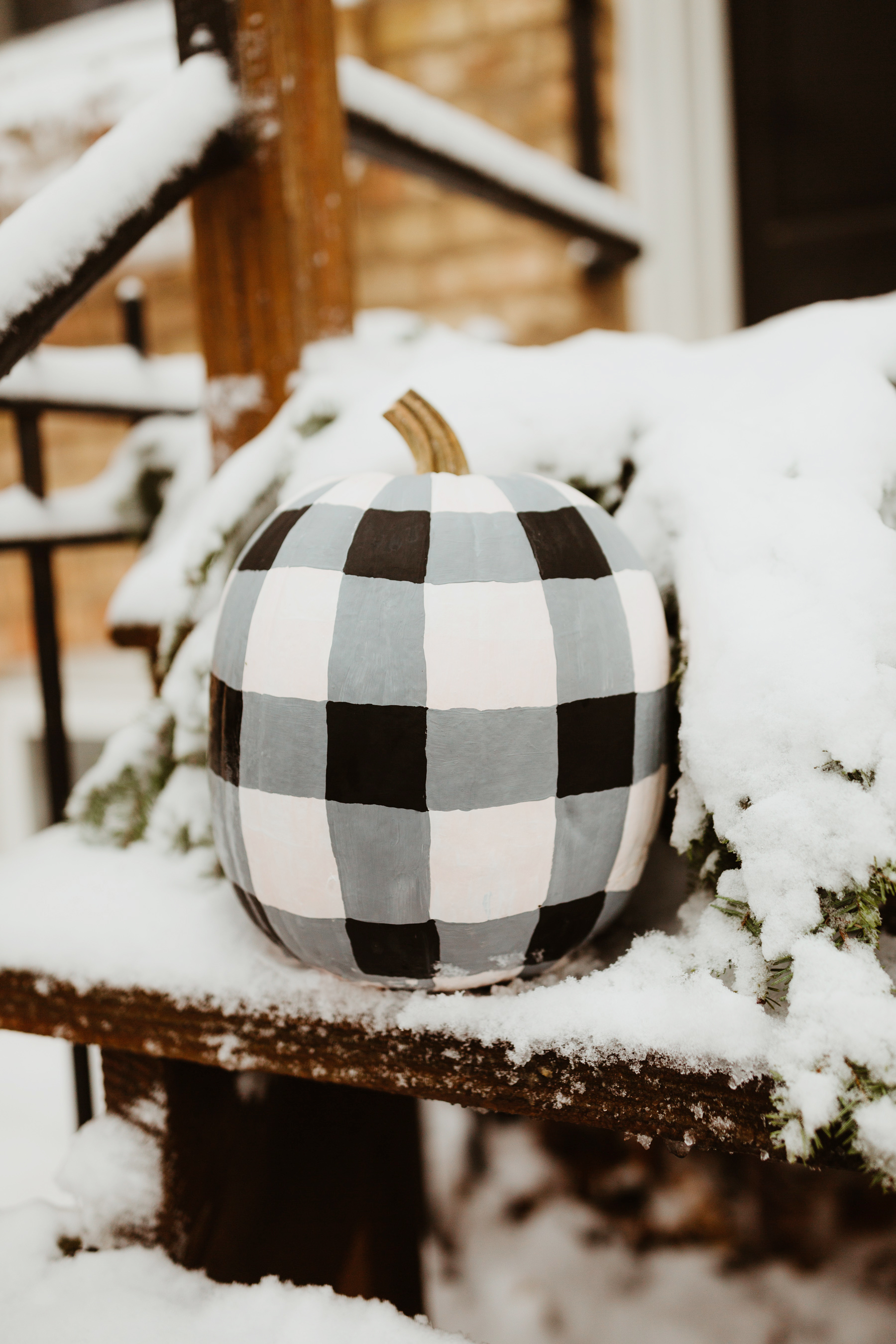 Buffalo Plaid Snowman Pumpkin Tutorial Kelly In The City