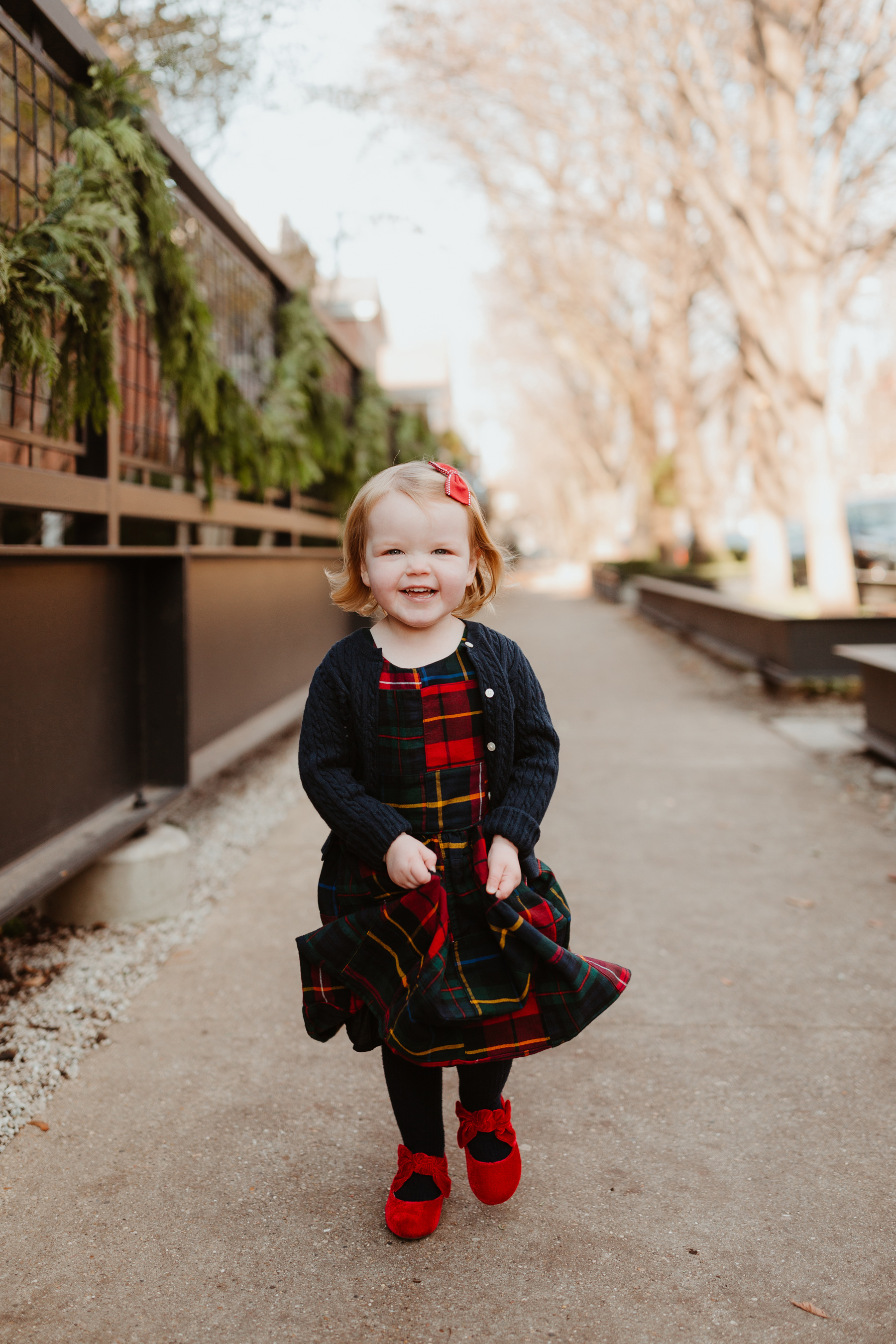 Plaid Dress (This is just the cutest, too!More holiday looks here.) / red shoes / navy cardigan
