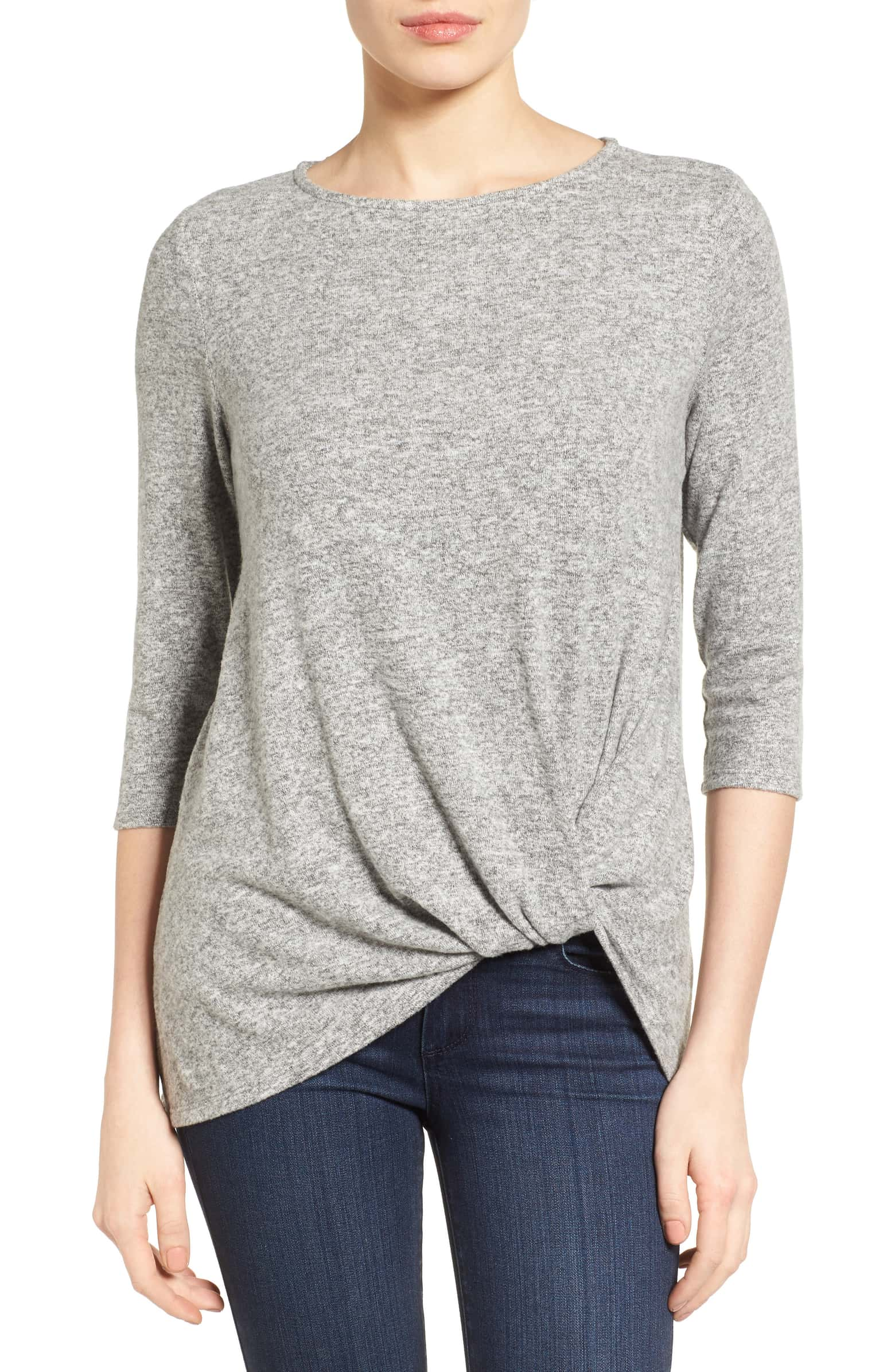Nordstrom Gibson Cozy Twist Top, Size XS