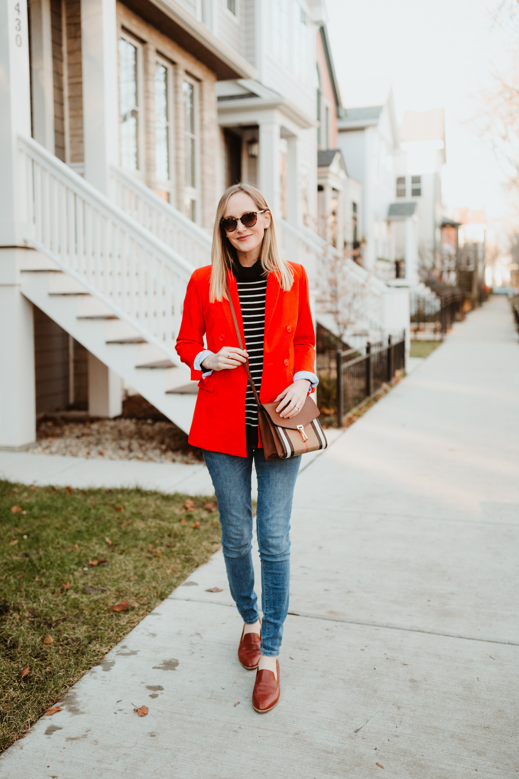 this red blazer coat from Madewell.