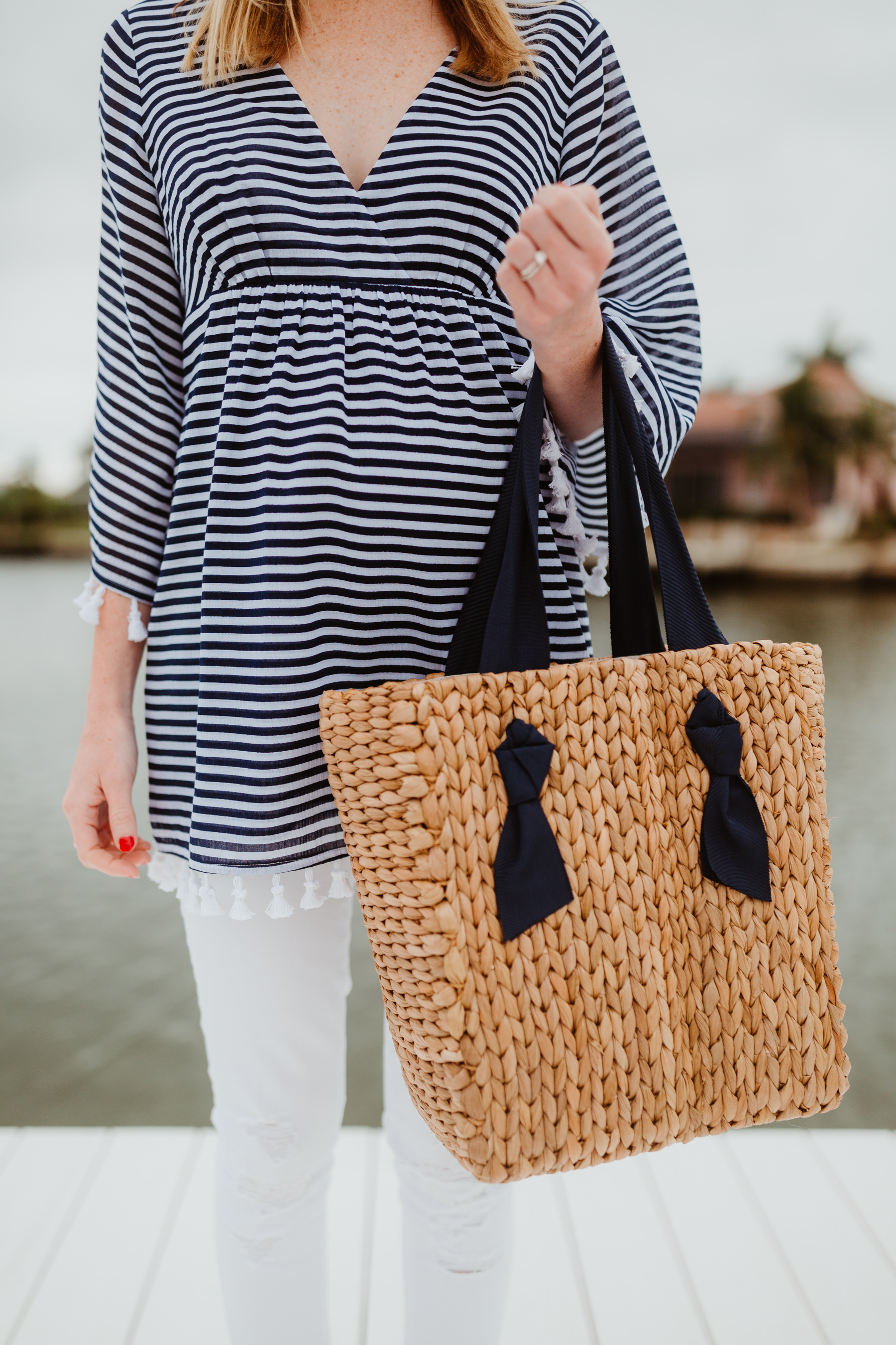 Sail to Sable Crinkle Cotton Tunic Top & Pamela Munson Woven Tote