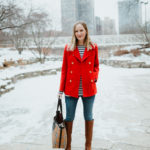 preppy red peacoat
