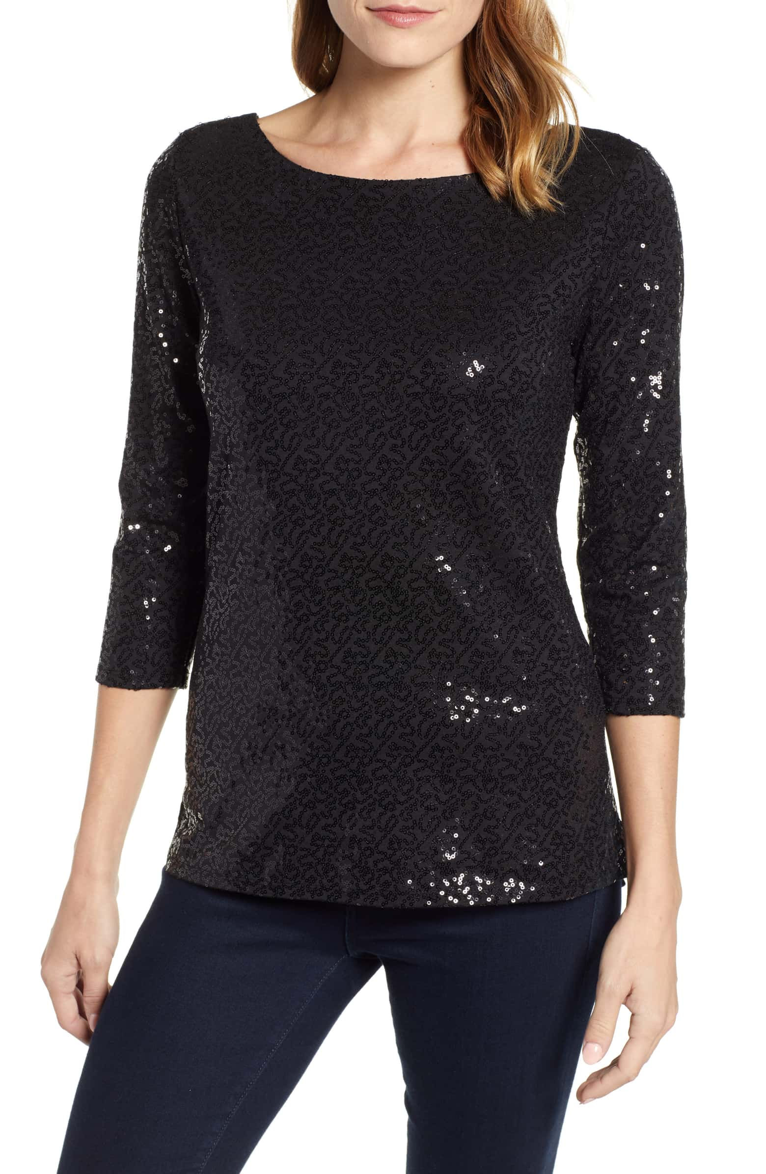 (New with Tags) Nordstrom Gibson Sequined Top, Size Small