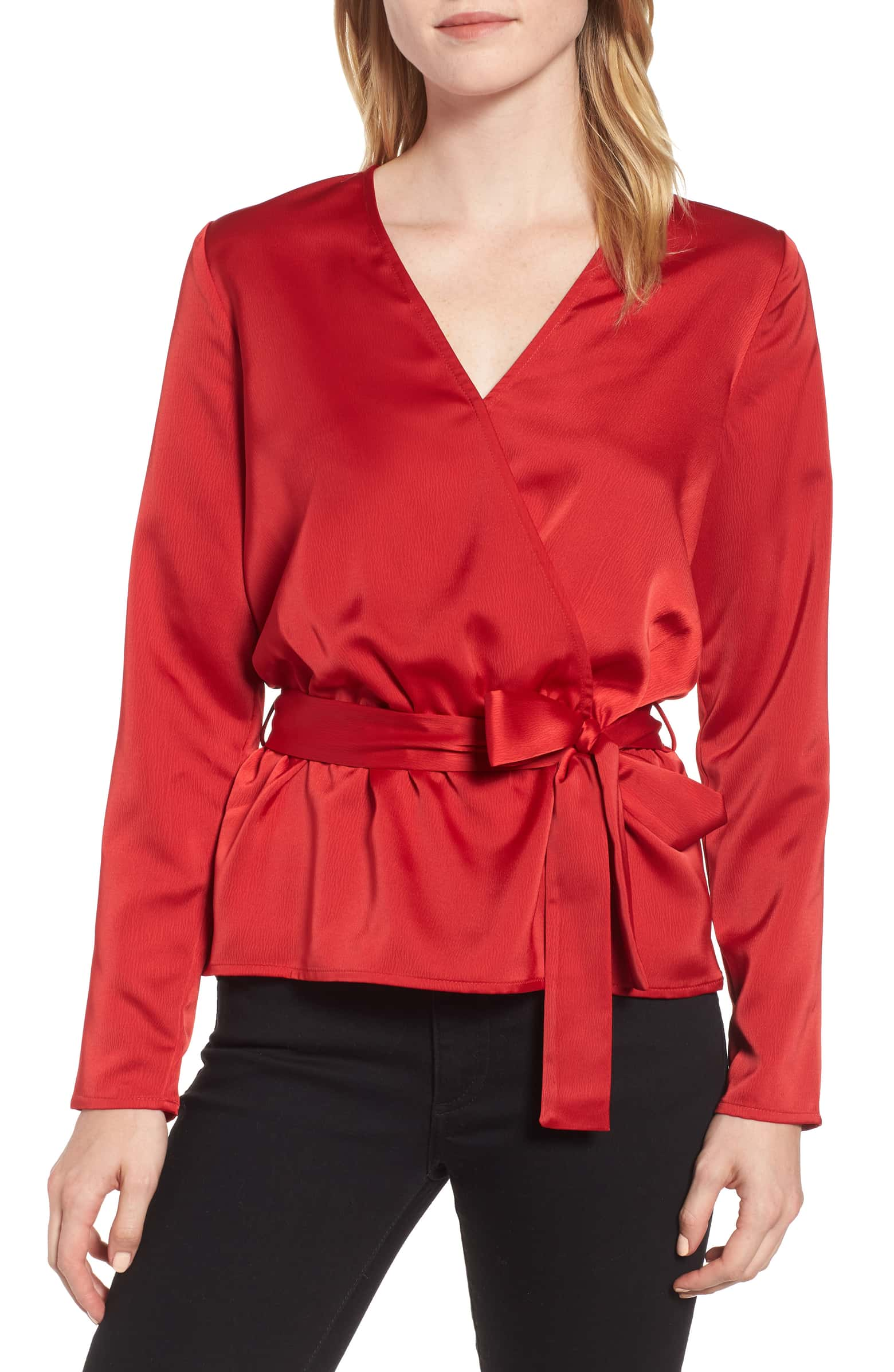 Nordstrom Gibson x Glam Faux Wrap Top, Size XS