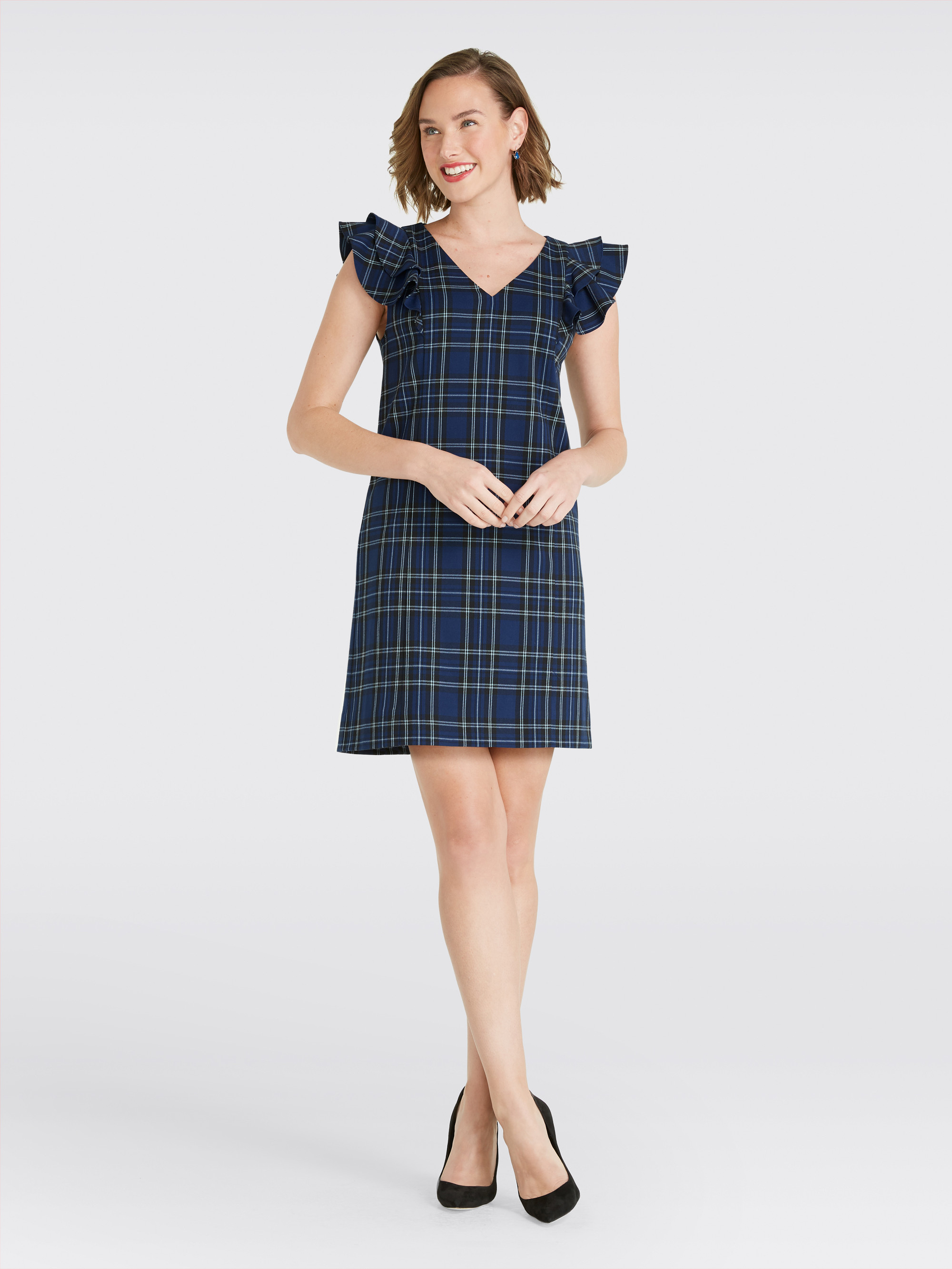 (New with Tags) Draper James Plaid Ruffle Shoulder Dress, Size 4