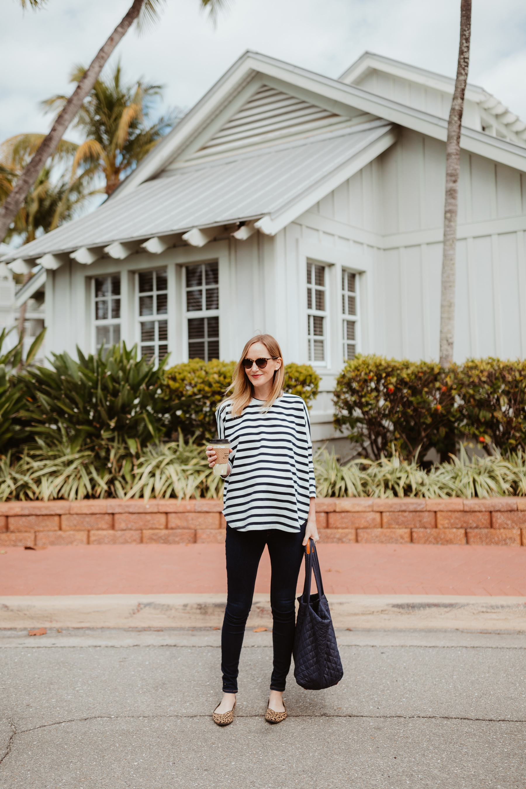 Tuckernuck Striped Swing Top, jeans and leopard shoes