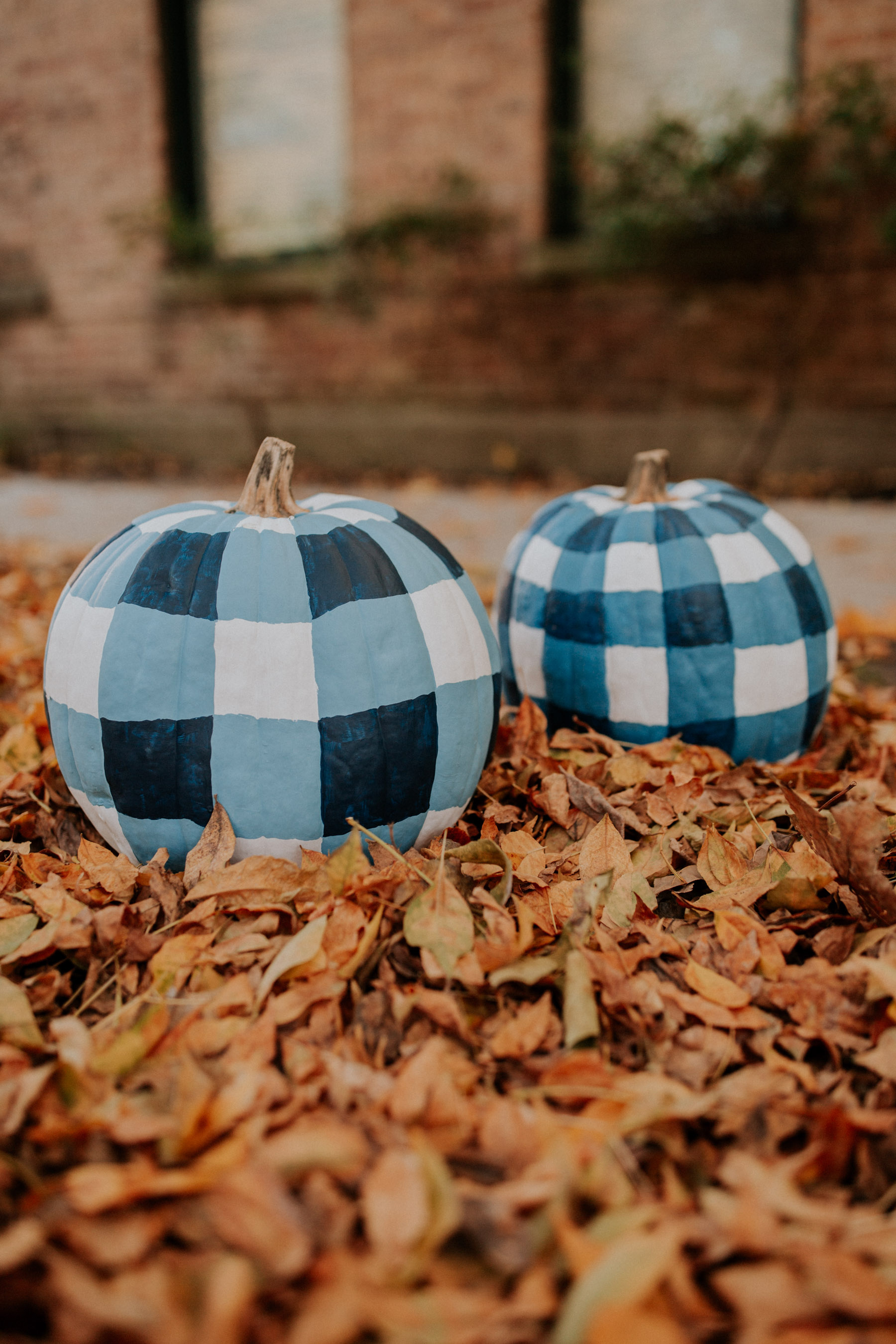 How to Paint Gingham Pumpkins