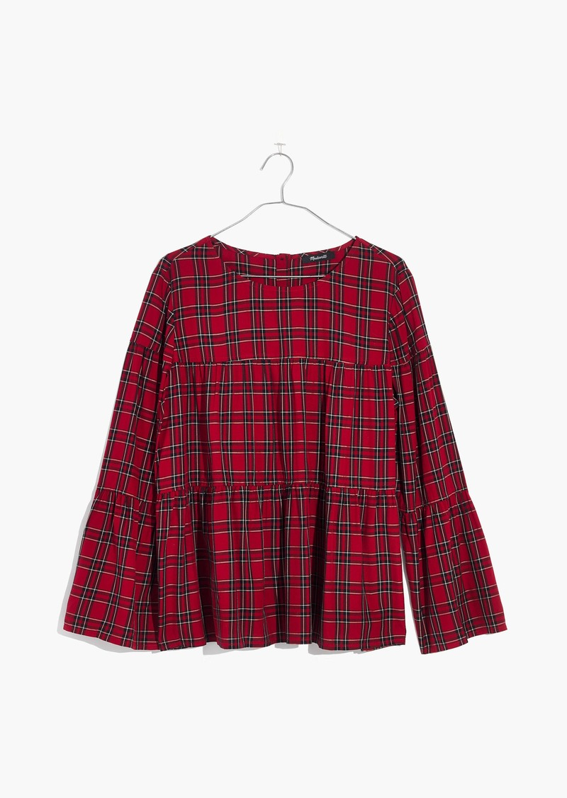 Madewell Plaid Tiered Top, Size XS