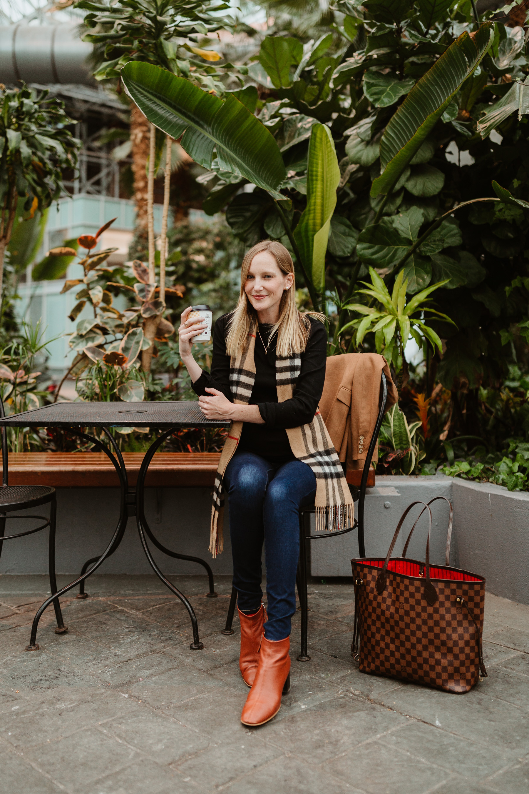 """Kelly's Outfit: Everlane Day Boot c/o / Gold Initial Necklace /J.Crew Regent Blazer /Softest """"Modern Boatneck"""" Tee by Gap / Louis Vuitton MM Neverfull Tote / Burberry Scarf/ Old Navy Rockstar Jeans"""