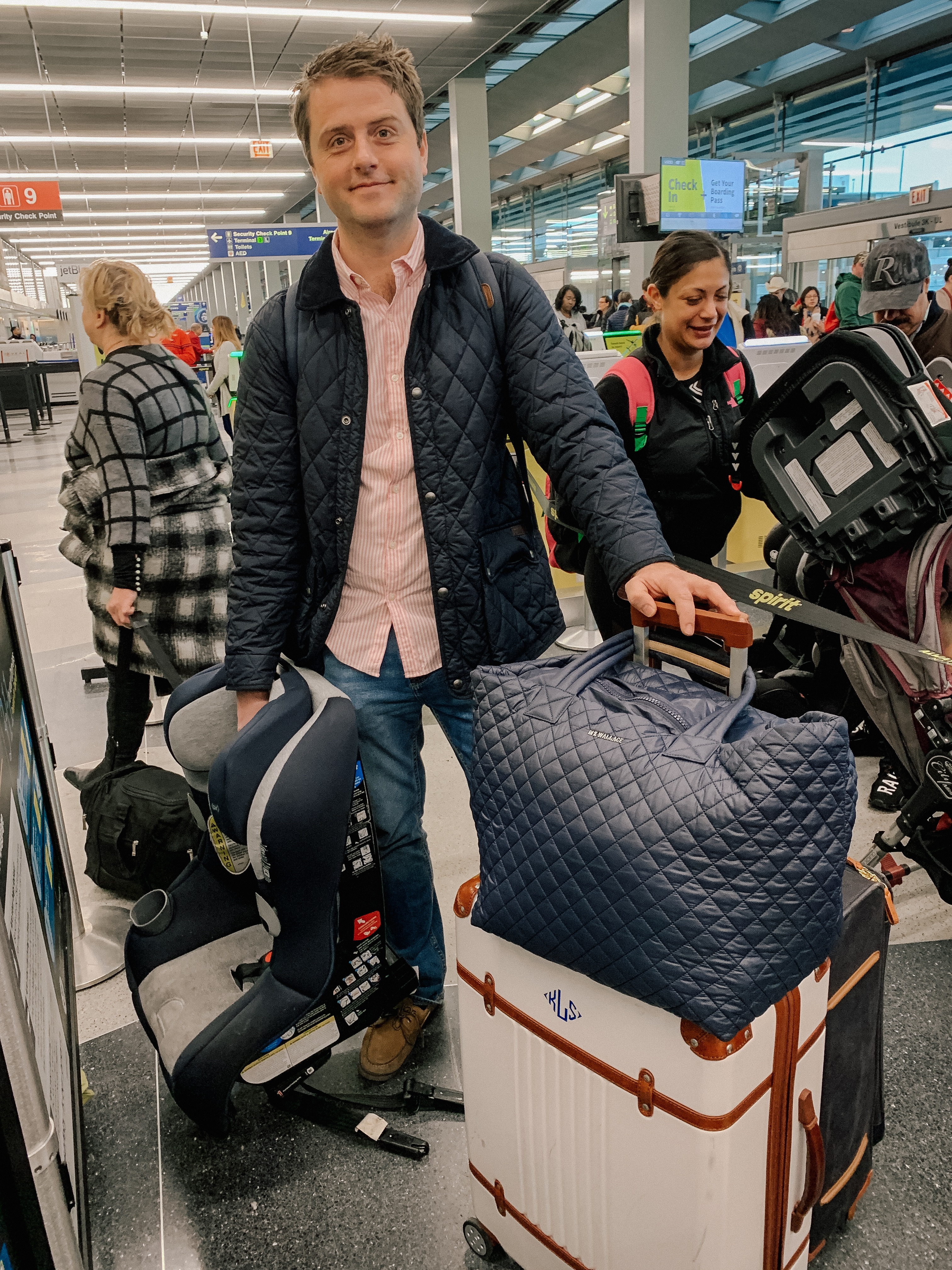 MItch Larkin is featuring Large Quilted MZ Wallace Tote (Perfect for travel; back in stock in navy!) / Monogrammed Suitcase