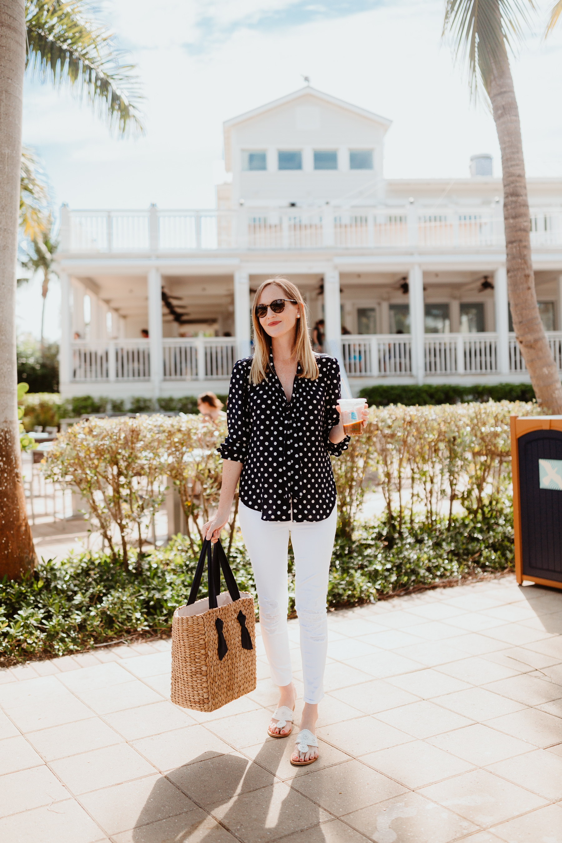 Kelly's Outfit: J.Crew Navy Polka Dot Top /Pamela Munson Woven Tote / Jack Rogers /J Brand Maternity Ankle Jeans