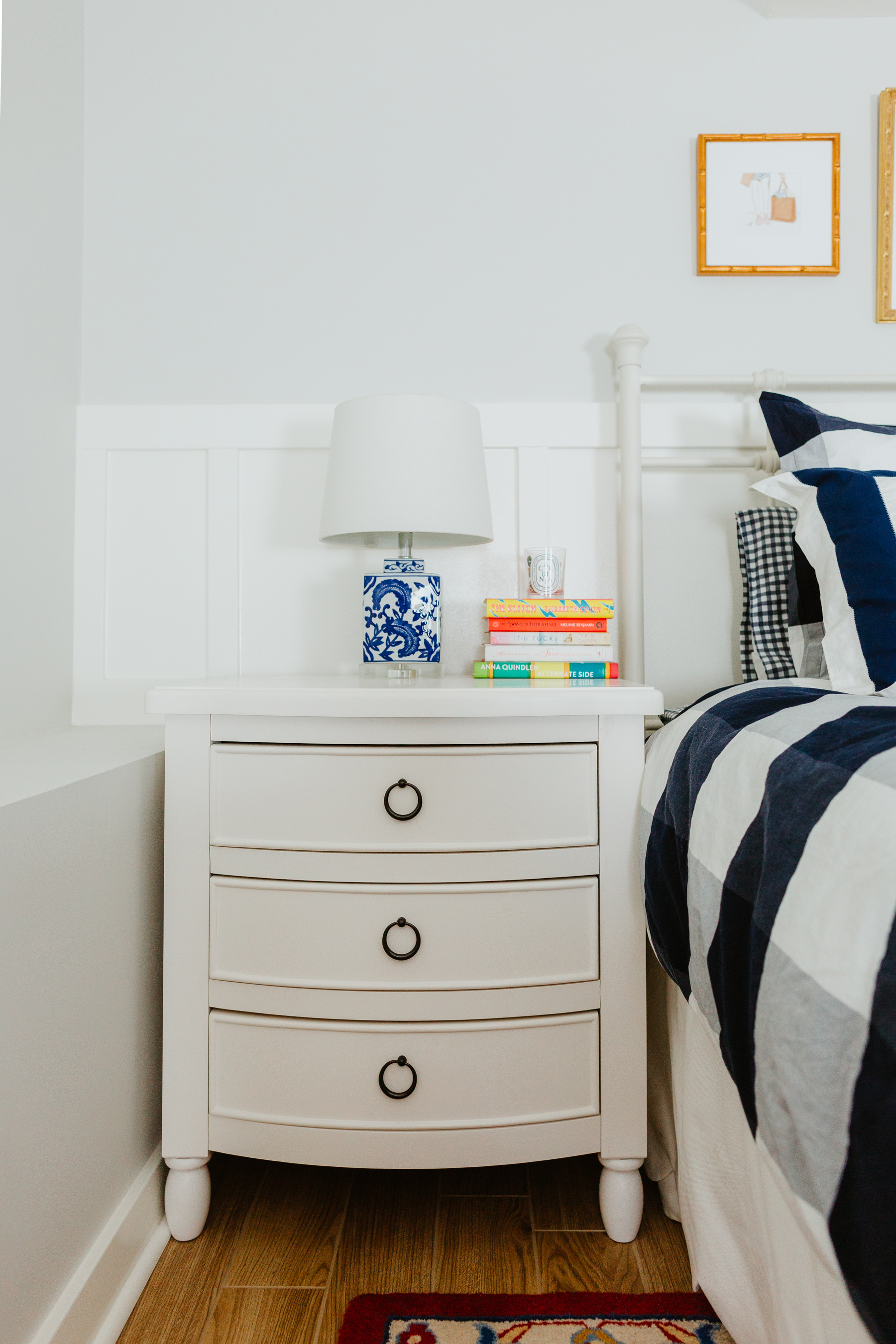 White Nightstand / Gingham Duvet Cover, Shams and Sheets
