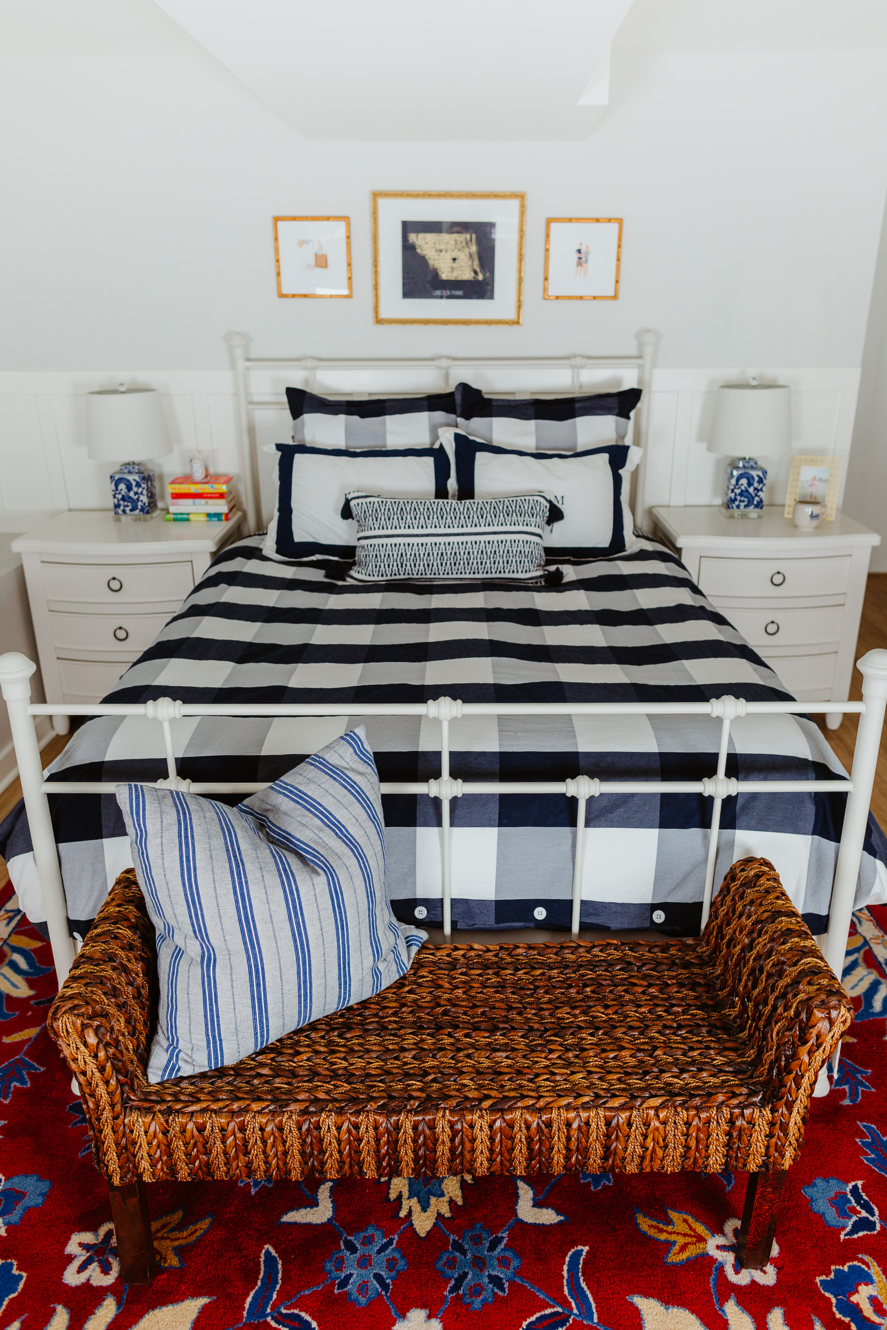 "White Lakehouse Bed / Nightstands / Mitch's Dresser / Kelly's Dresser / Gingham Duvet Cover, Shams and Sheets / Monogrammed Shams (Similar here) / Red Rug / Blue Rug / Gold Mirror / Woven Bench / Striped Pillow, Accent Pillow and Ginger Jar from HomeGoods / Old Chinoiserie Lamps but love these! / Laundry Baskets / Clothing Rack / Newer Version of my Jewelry Box / Britt Ford Lincoln Park Framed Map / Scalloped Bed Skirt / Tile that looks like wood! / Paint: Benjamin Moore ""Gray Owl"" diluted by 50 percent & Benjamin Moore ""Simply White"""