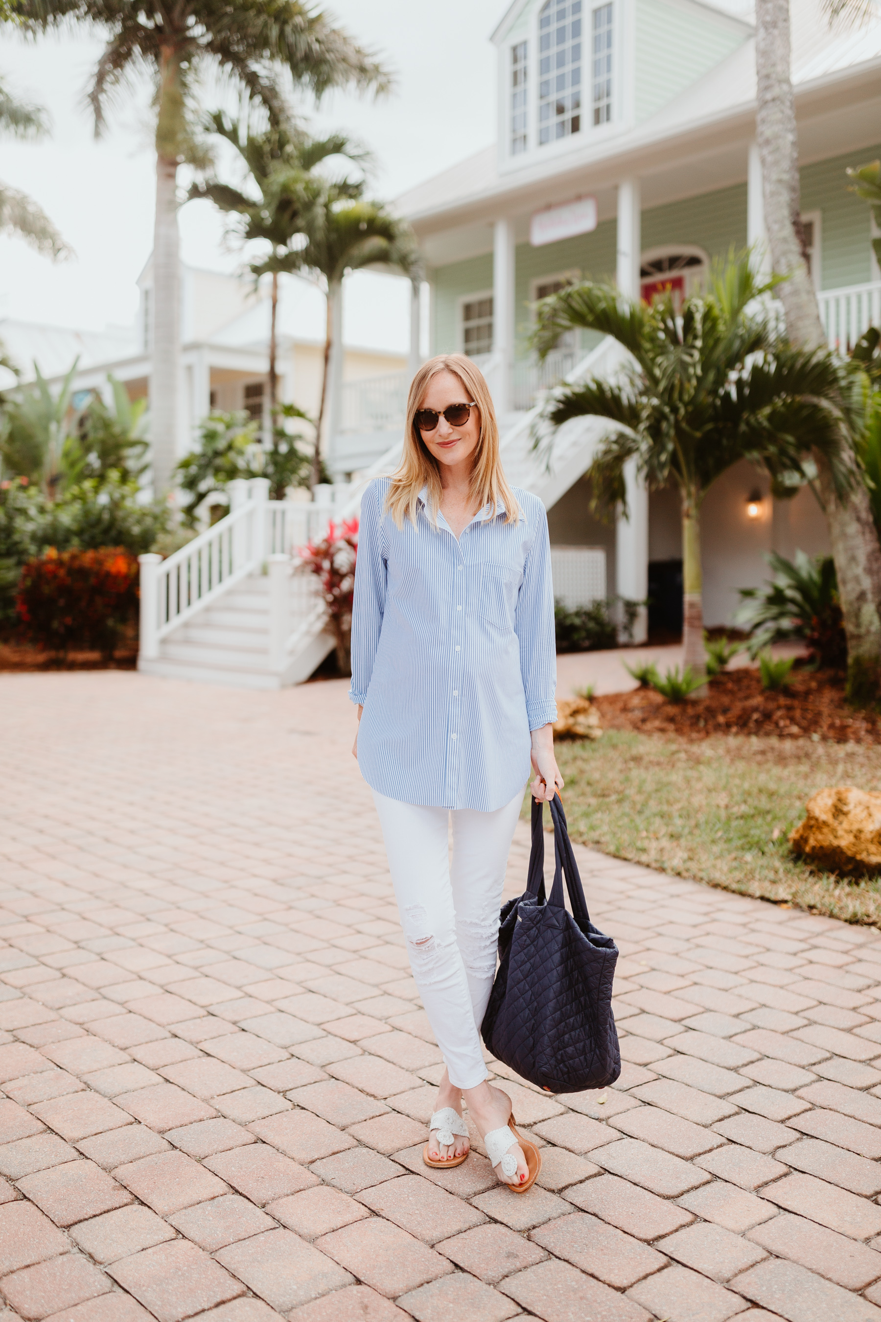 3437183c3cf3 LYSSÉ Schiffer Shirt - Preppy Travel Outfit | Kelly in the City