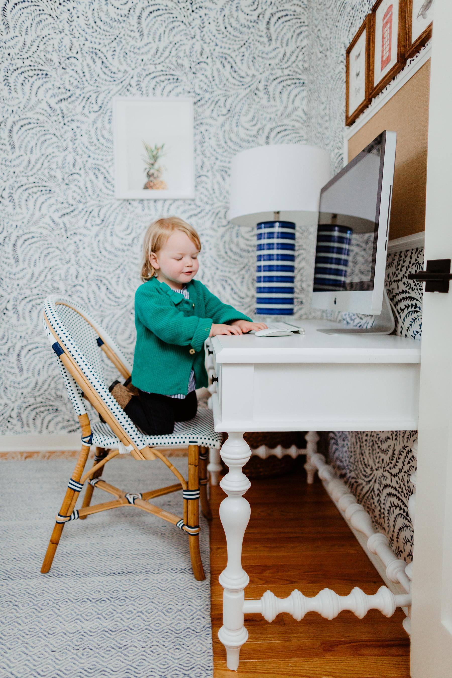 Wilder Modern Farmhouse Turned Leg Writing Desk White - Aiden Lane
