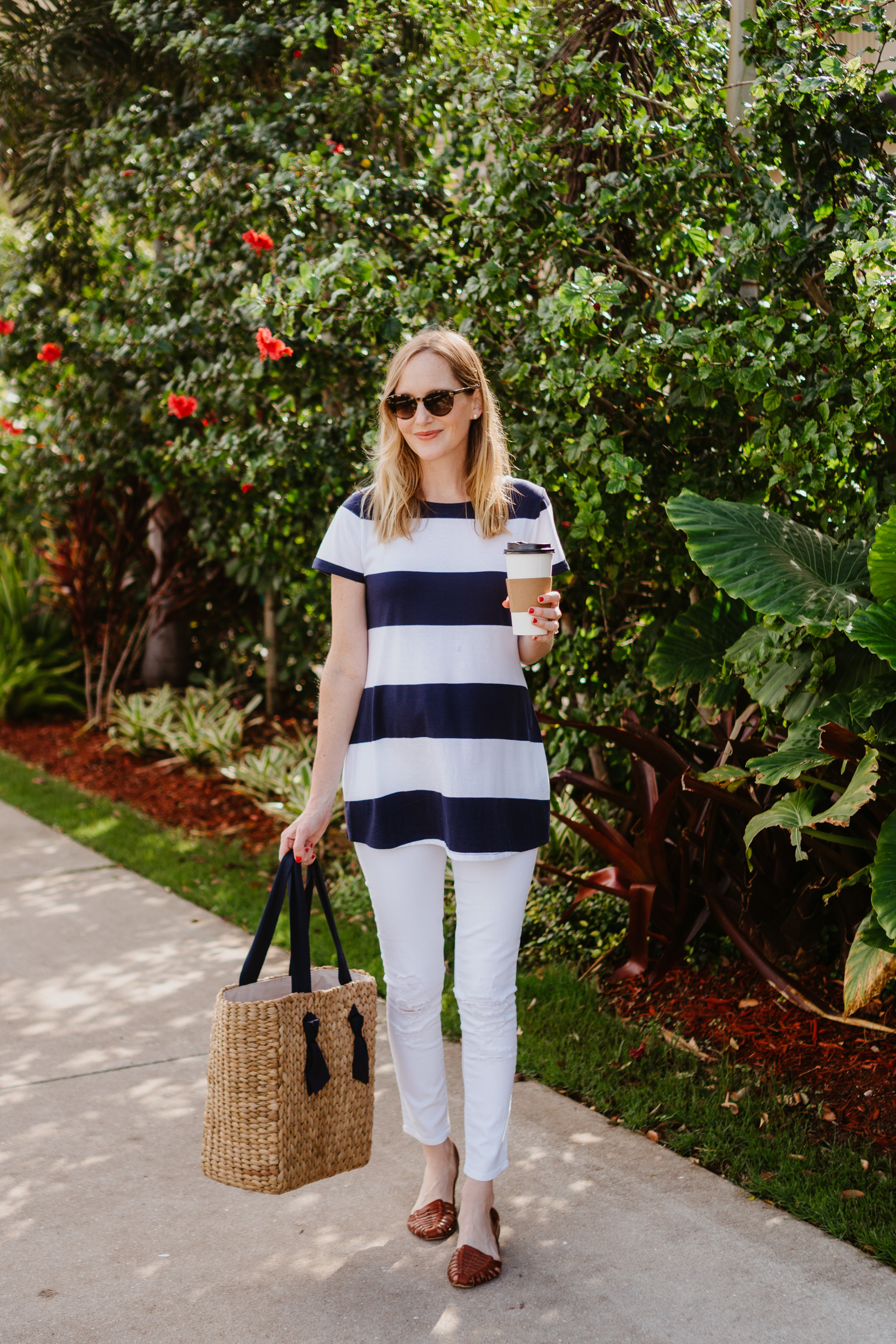 Pamela Munson Tote  / White Skinny Maternity Jeans / Old Navy Striped Tee / J.Crew Factory Huarache Sandals