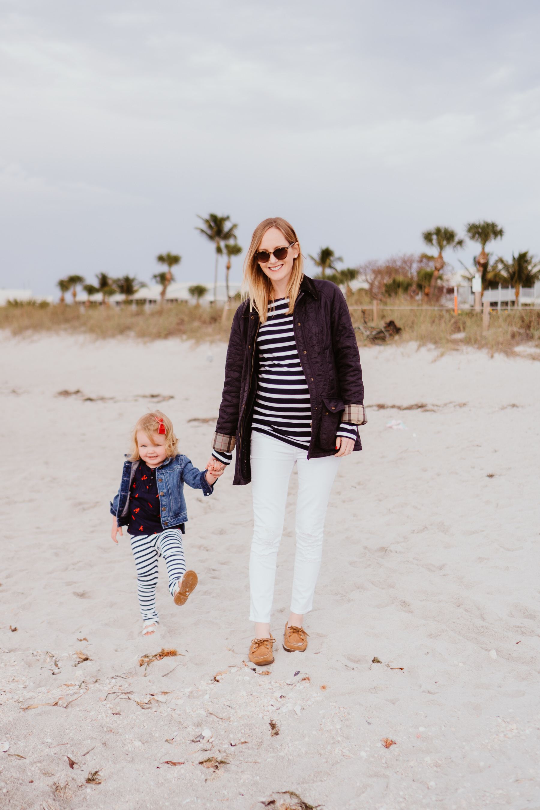 White Skinny Maternity Jeans / Striped Tee (Maternity version here.) / Barbour Jacket / Sperry Boat Shoes / Emma's Outfit Details here