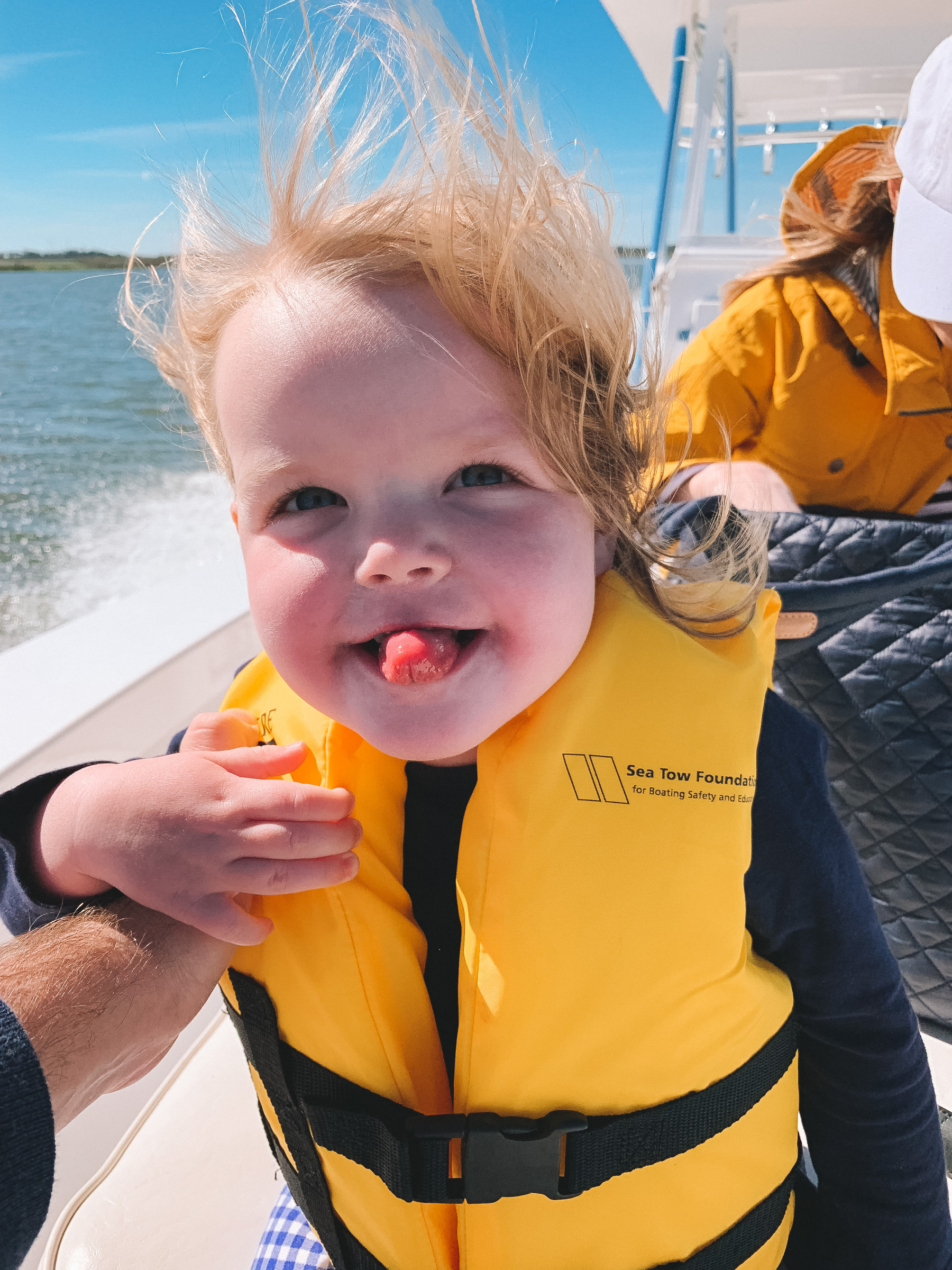 Emma Larkin is enjoying a Dolphin Boat Tour on Sea Island