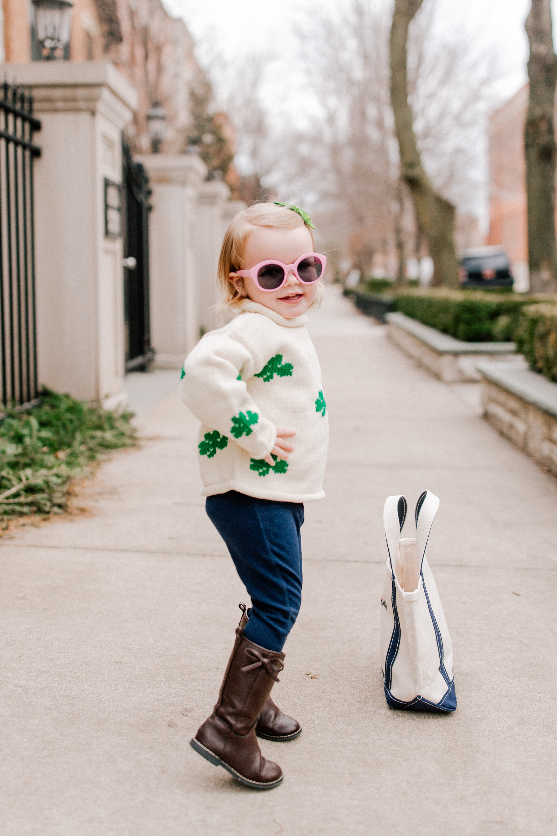 Emma's Outfit: Claver Shamrock Sweater / L.L. Bean Tote c/o / Gap Kids Jeggings and Boots / Janie & Jack Sunglasses / Little Makes Big Bow c/o