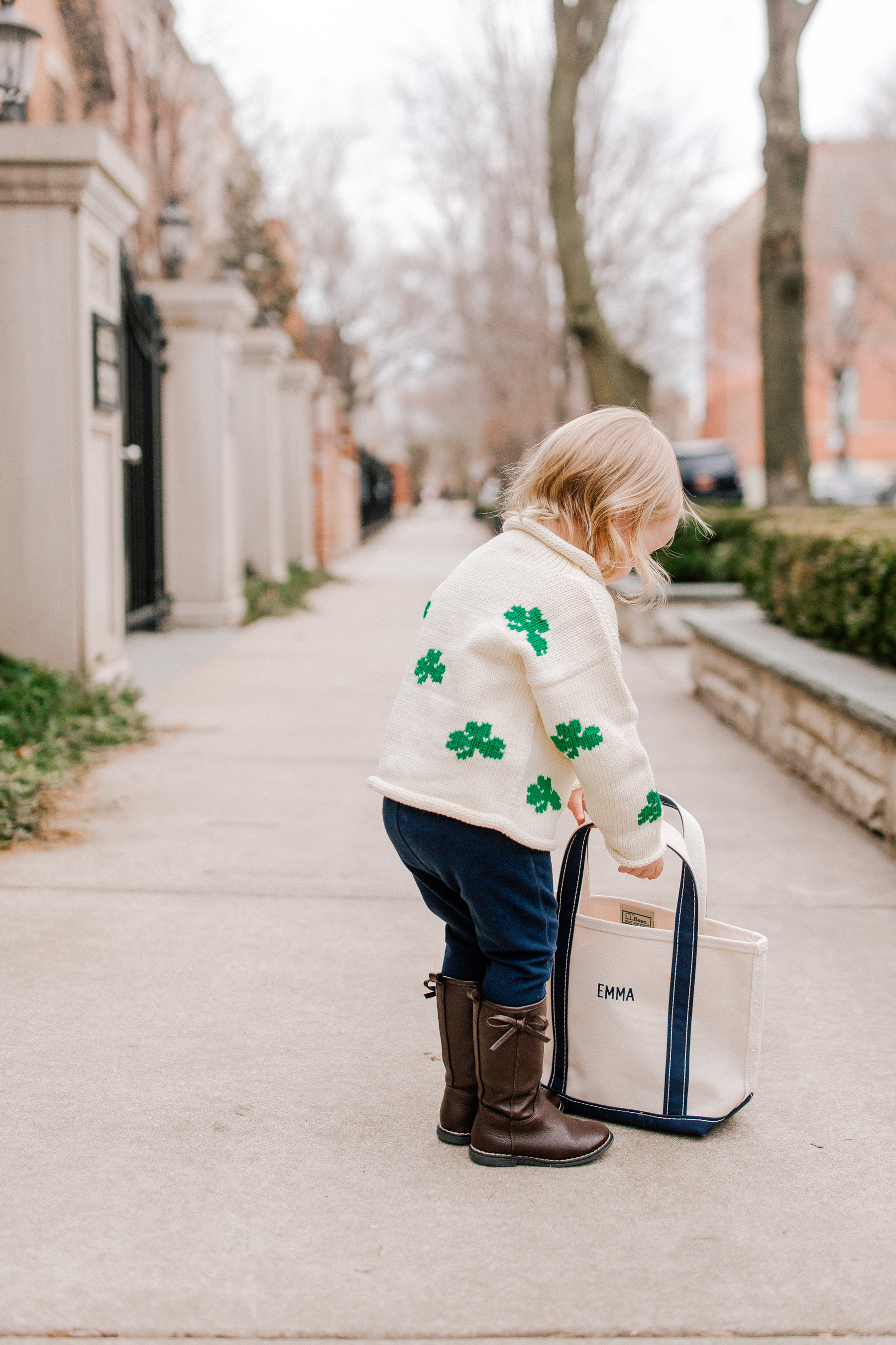 Emma is featuring a Claver Shamrock Sweater / L.L. Bean Tote c/o / Gap Kids Jeggings and Boots