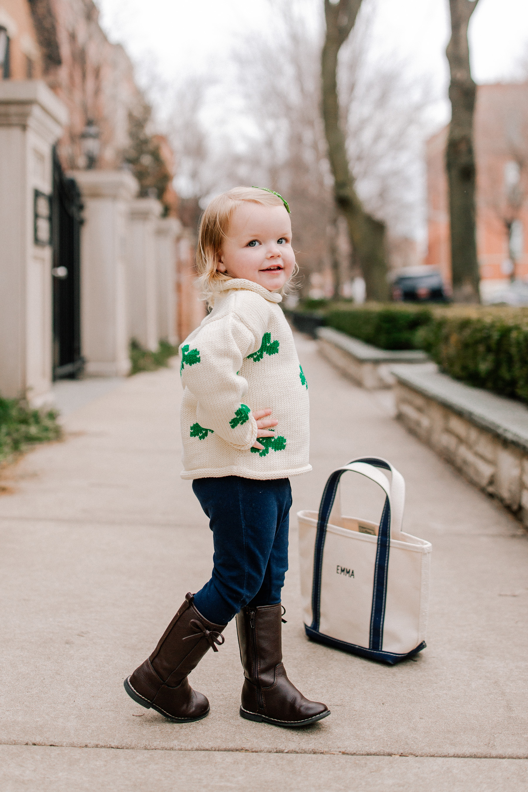 Emma's Outfit: Claver Shamrock Sweater / L.L. Bean Tote c/o / Gap Kids Jeggings and Boots
