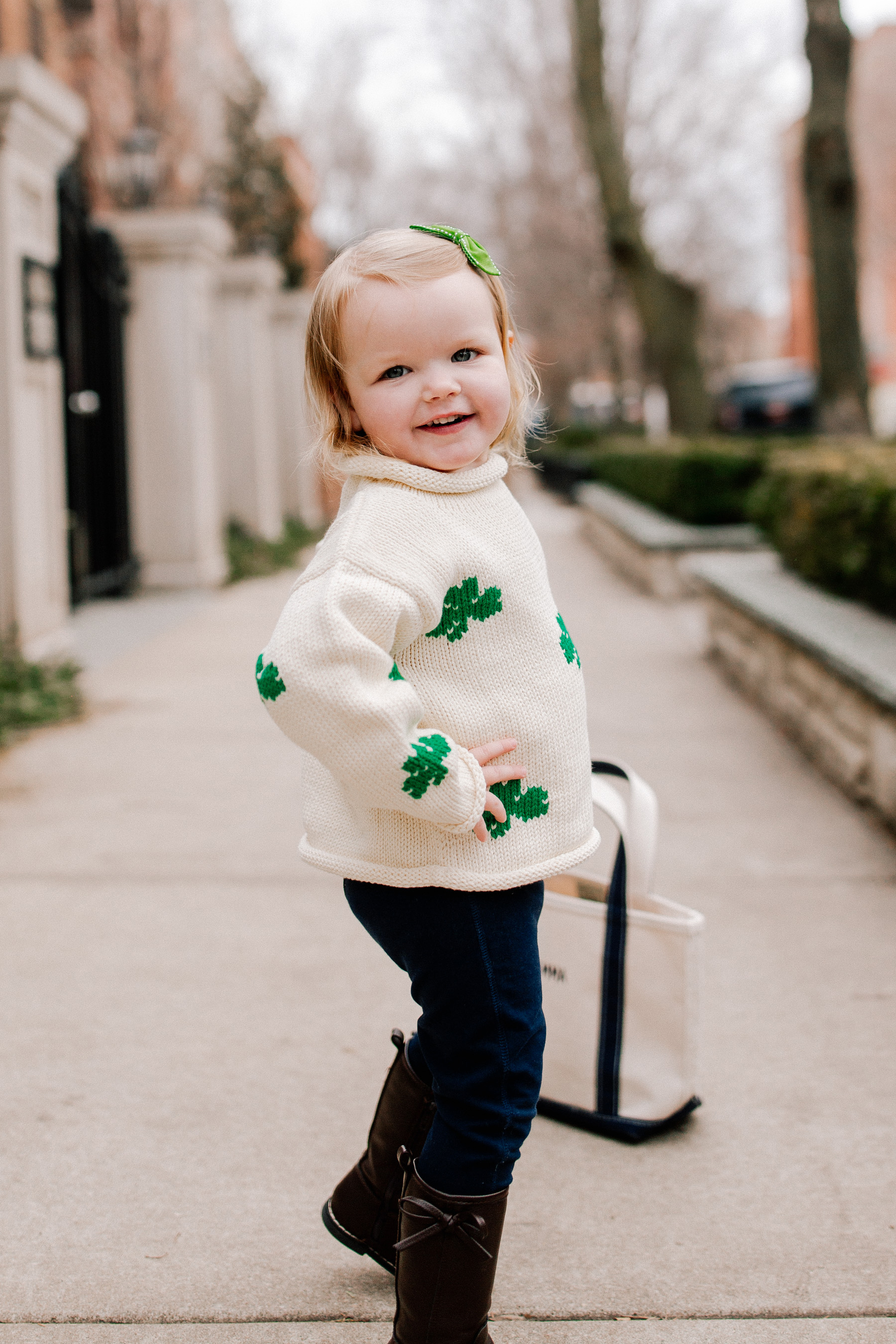 Emma's Outfit: Claver Shamrock Sweater / L.L. Bean Tote c/o / Gap Kids Jeggings  / Janie & Jack Sunglasses / Little Makes Big Bow c/o