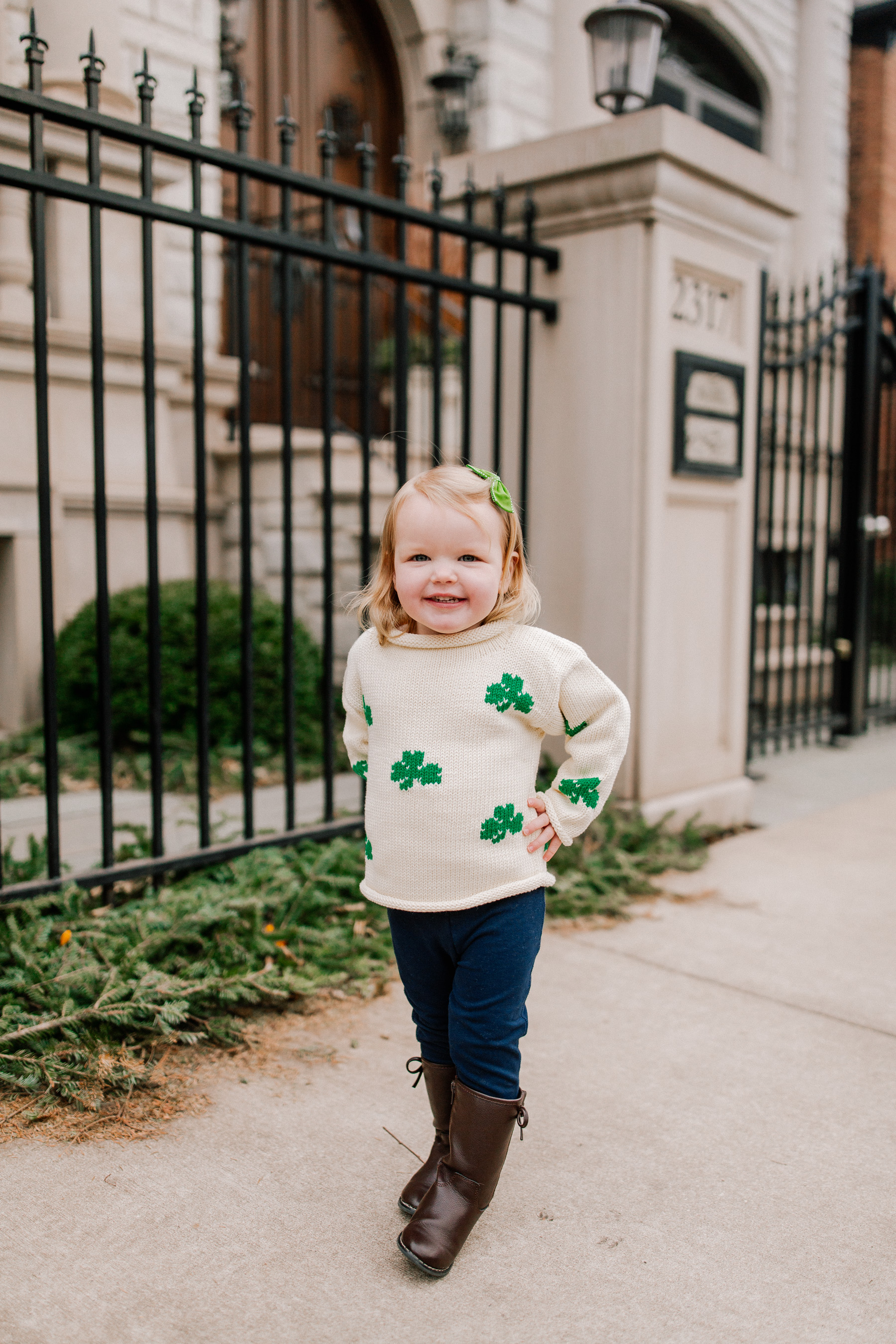 Emma's Outfit: Claver Shamrock Sweater / Gap Kids Jeggings and Boots / Little Makes Big Bow c/o