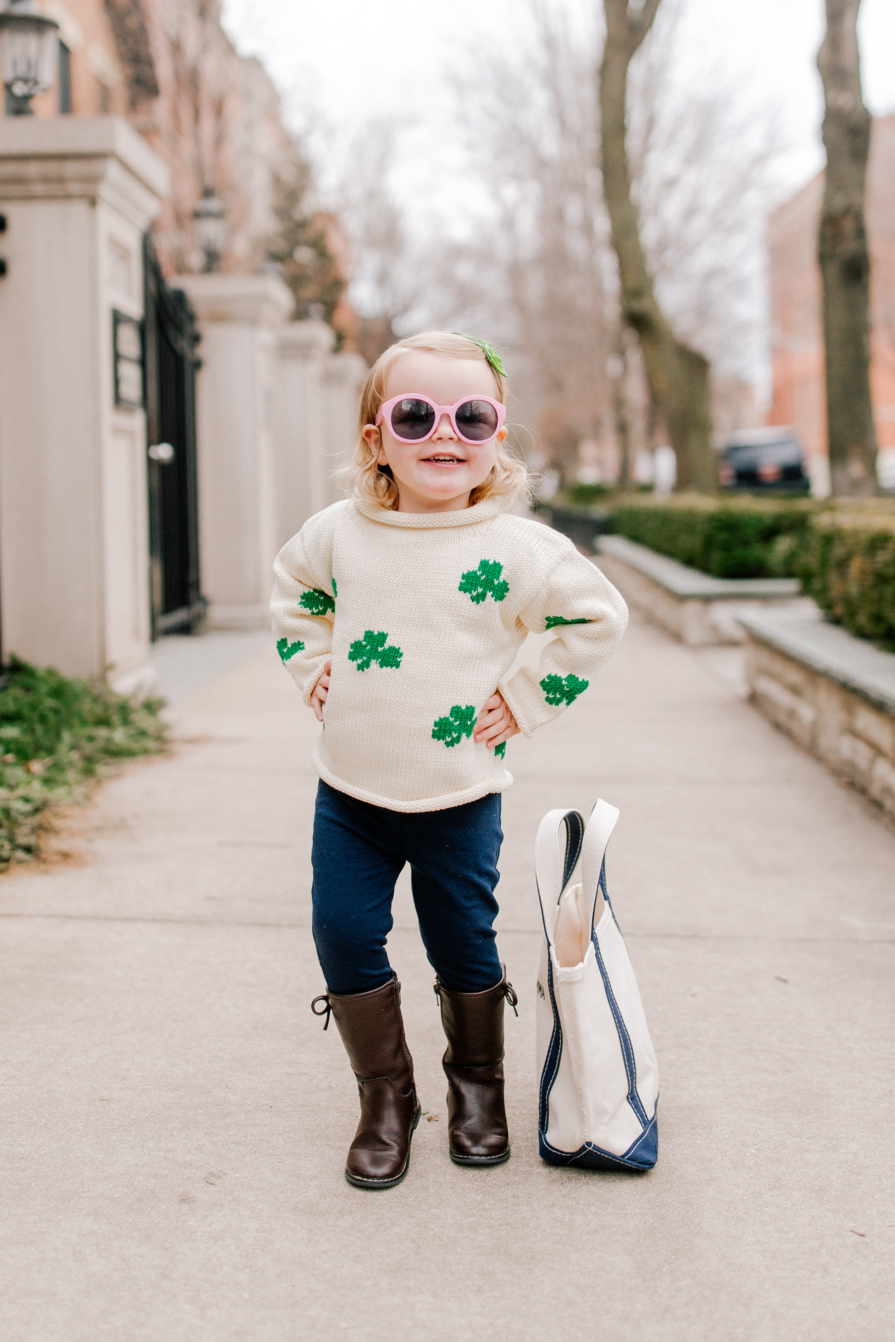 Emma is featuring a Claver Shamrock Sweater / L.L. Bean Tote c/o / Gap Kids Jeggings and Boots / Janie & Jack Sunglasses / Little Makes Big Bow c/o