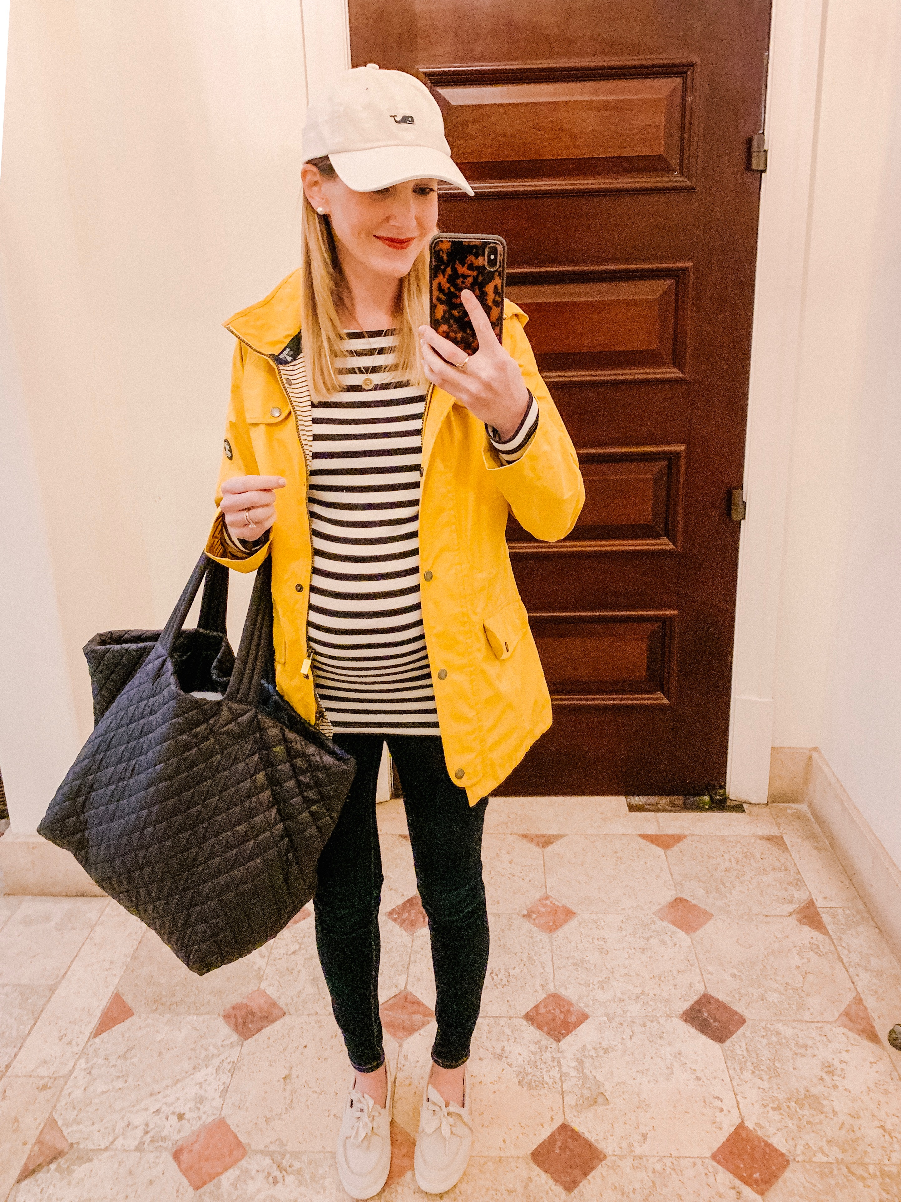Outfit details: Coast Waterproof Hooded Jacket JOULES | striped blouse and leggings.