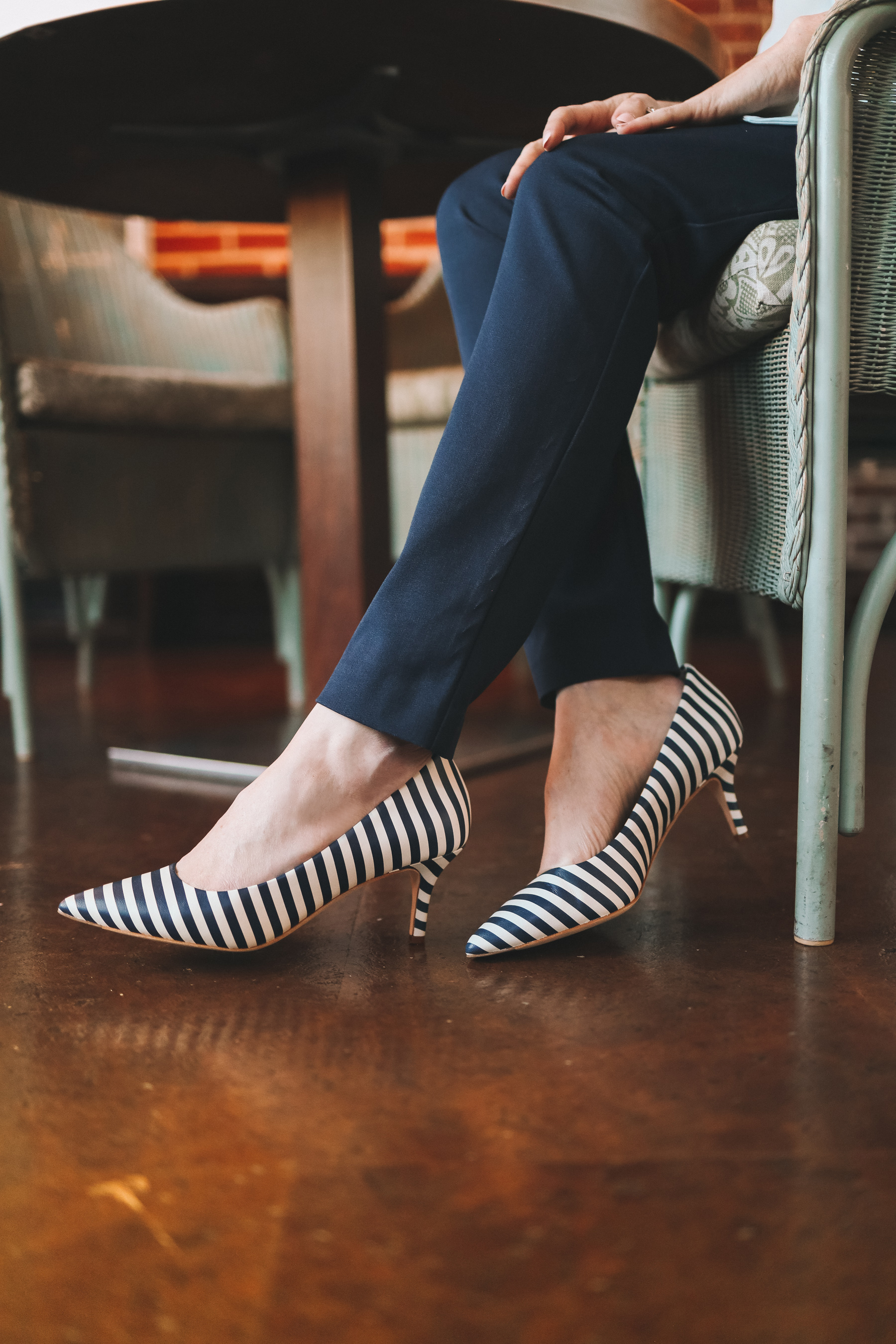 Cole Haan Navy Striped Vesta Pumps