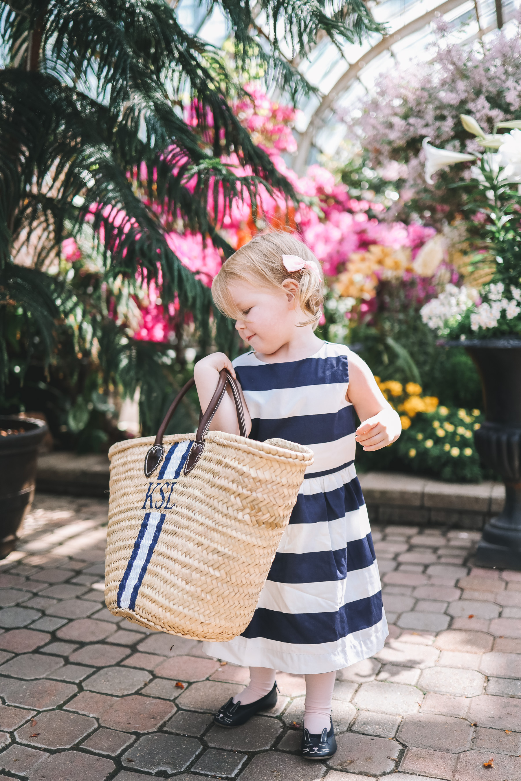 Emma's outfit: J.Crew Factory Navy Striped Dress / Mark & Graham Hand-Painted Straw Tote c/o / Newer Gap Bunny Flats