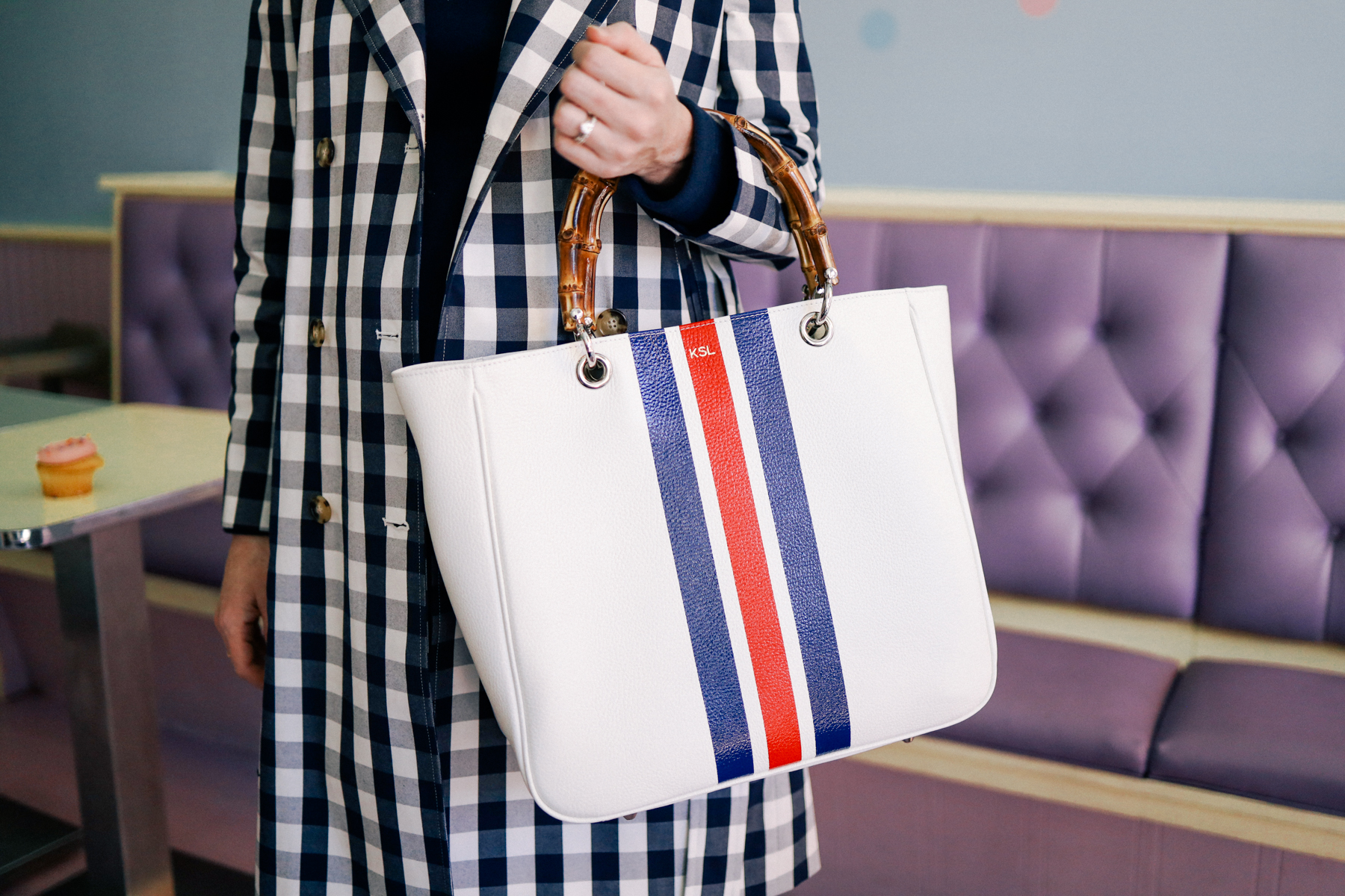 Striped Bamboo Elisabetta Tote with Strap