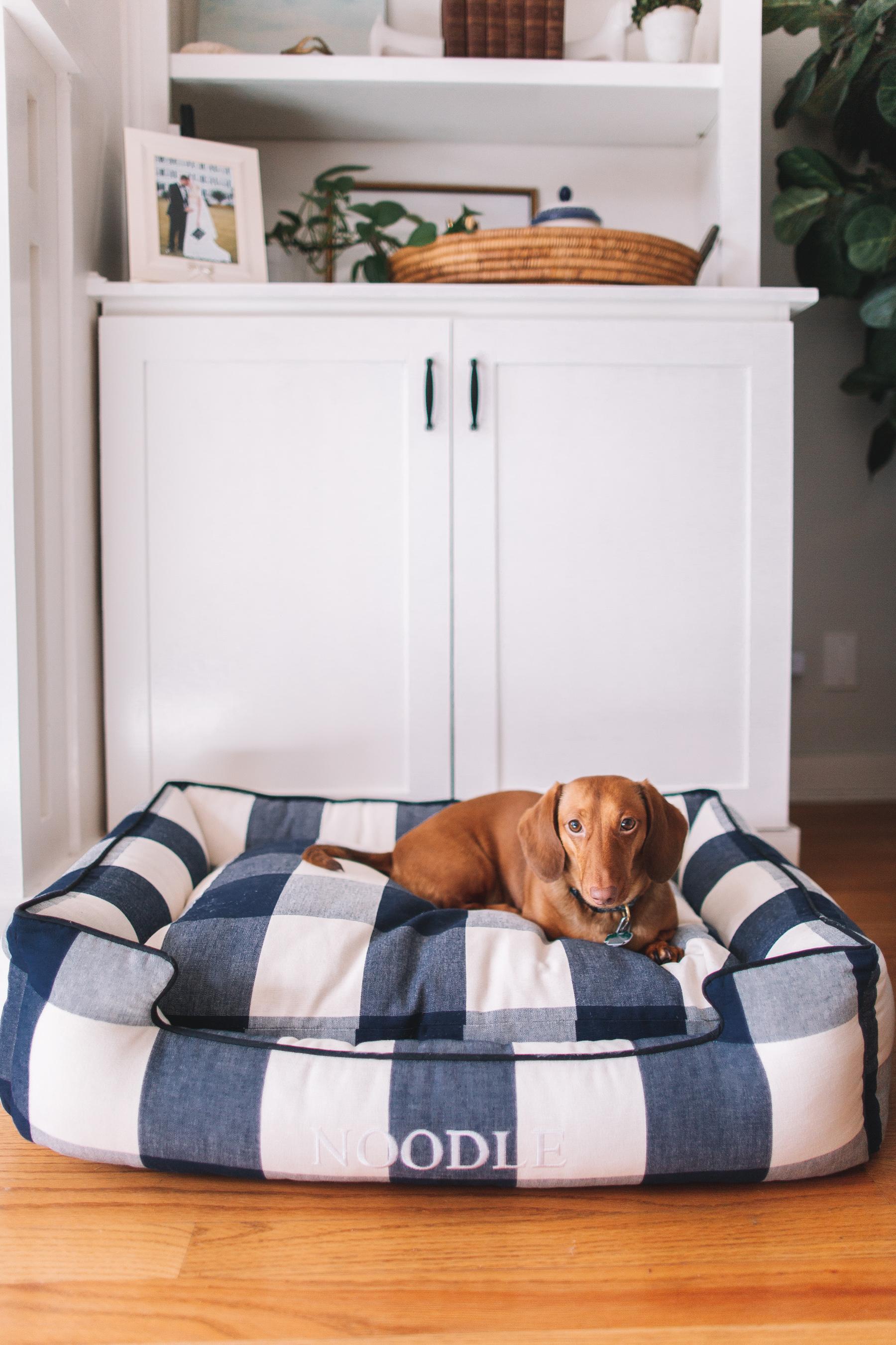 Gingham Dog Bed