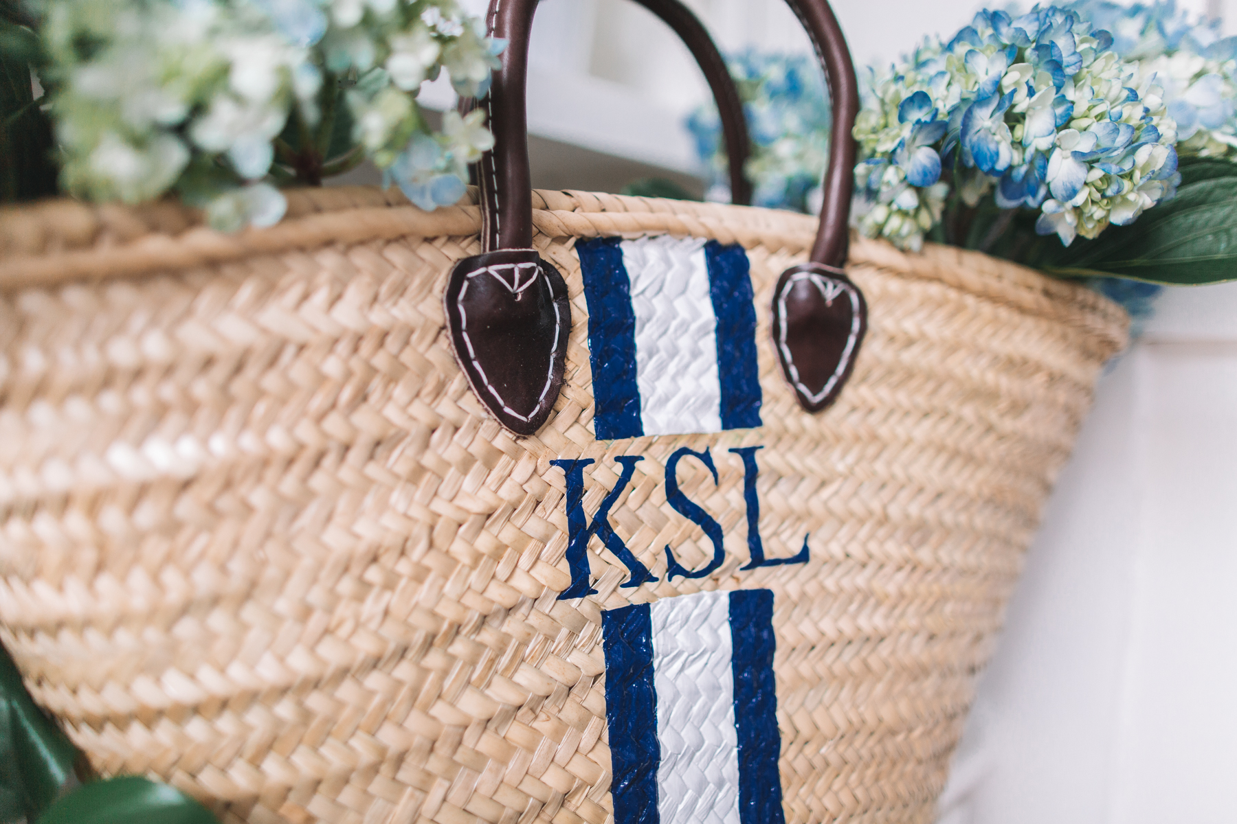 Hand-Painted Straw Beach Bag
