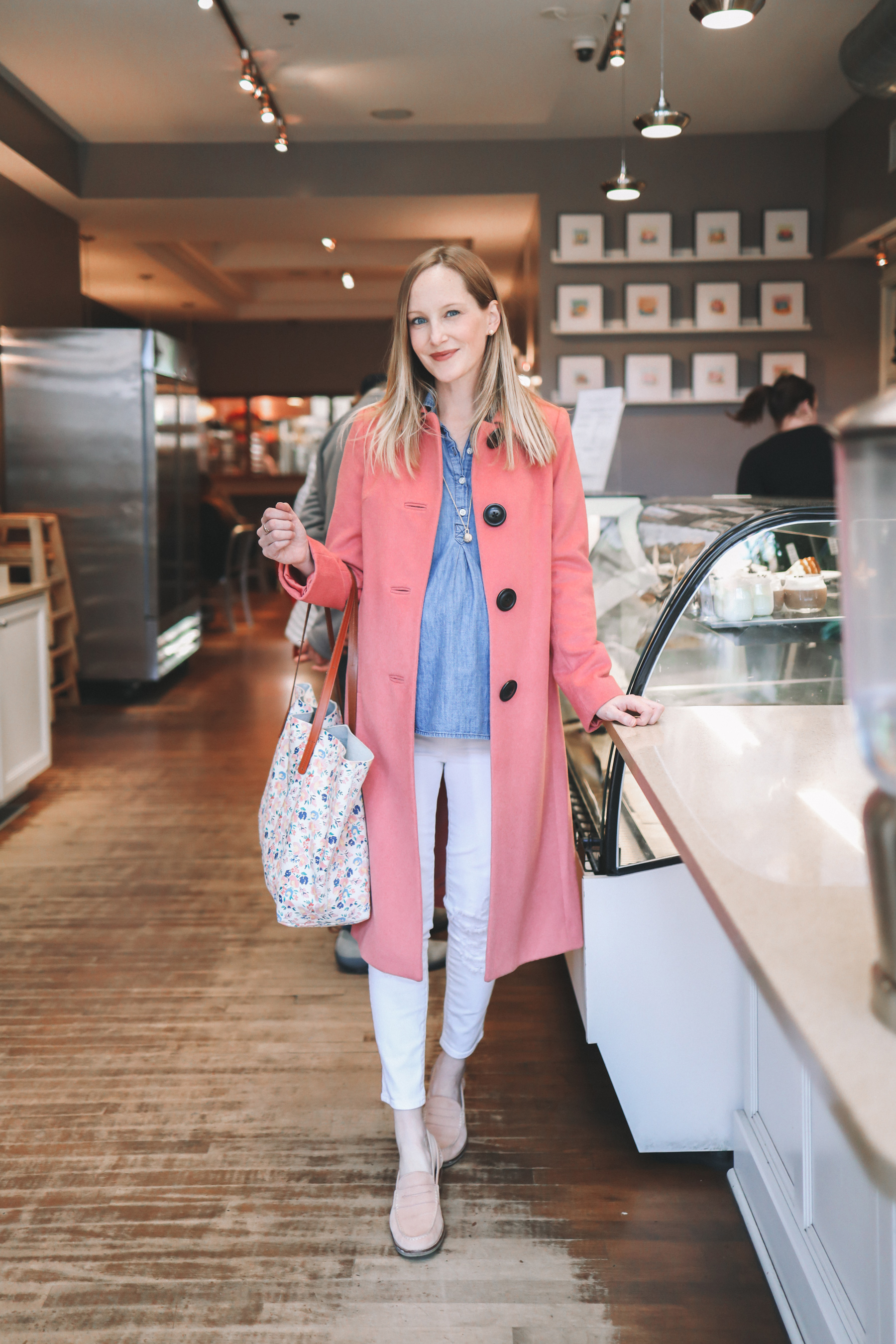 Kelly's outfit: Pink Boden Coat  / Brook & York Parker Knot Pendant / Sperry Loafers / White Maternity Jeans