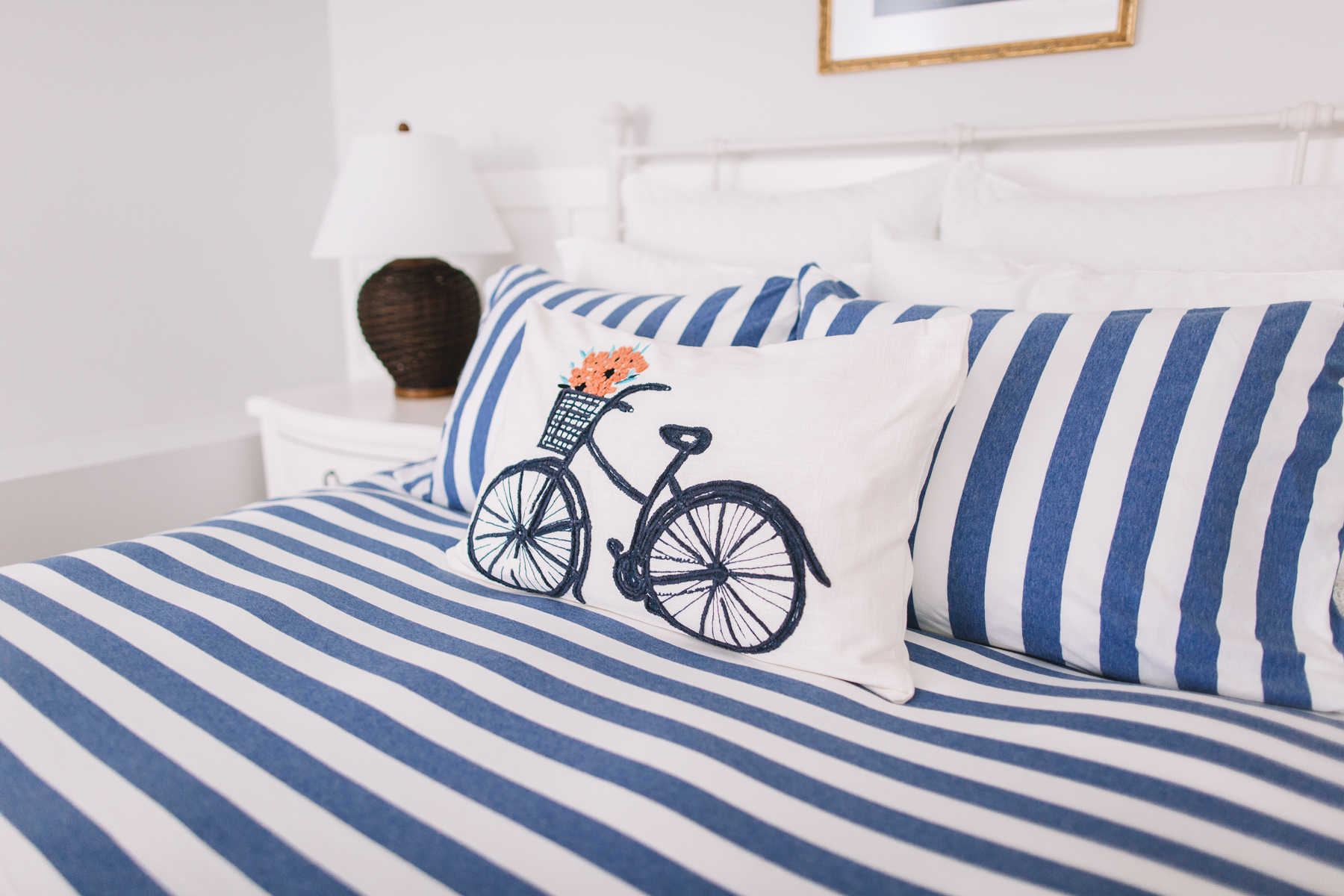 "Preppy Bedding - Company Store Awning Stripe Duvet Cover and Shams; Embroidered Bicycle Pillow; ""Enjoy"" Pillow; Flannel Lace Sheets and Pillowcases; Basket-Weave Euro Shams; Softest Fleece Throw Blanket; Ashby Floral Linen Fitted Sheet, Top Sheet, Pillow Cases and Euro Shams; Best Down Pillows; Firmest Pillows; Waterproof Mattress Pad; Oversized, Extra-Warm Down Comforter"