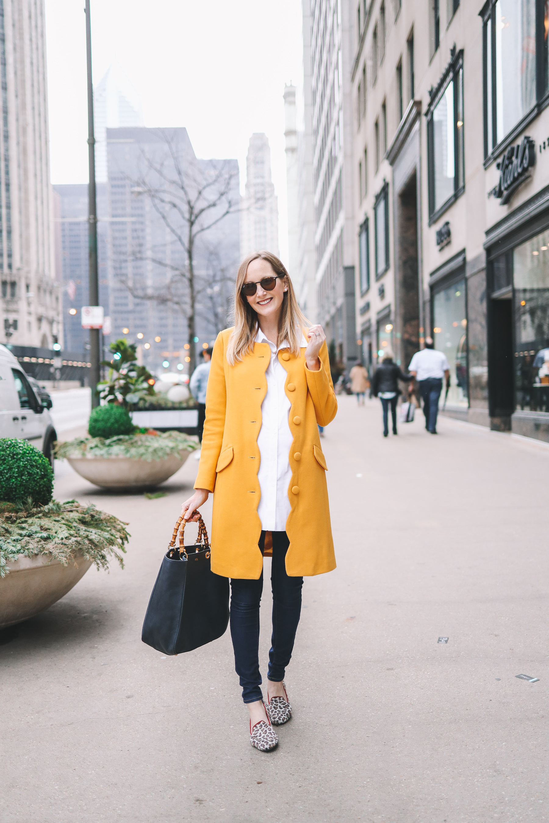 Yellow Scalloped Coat outfit